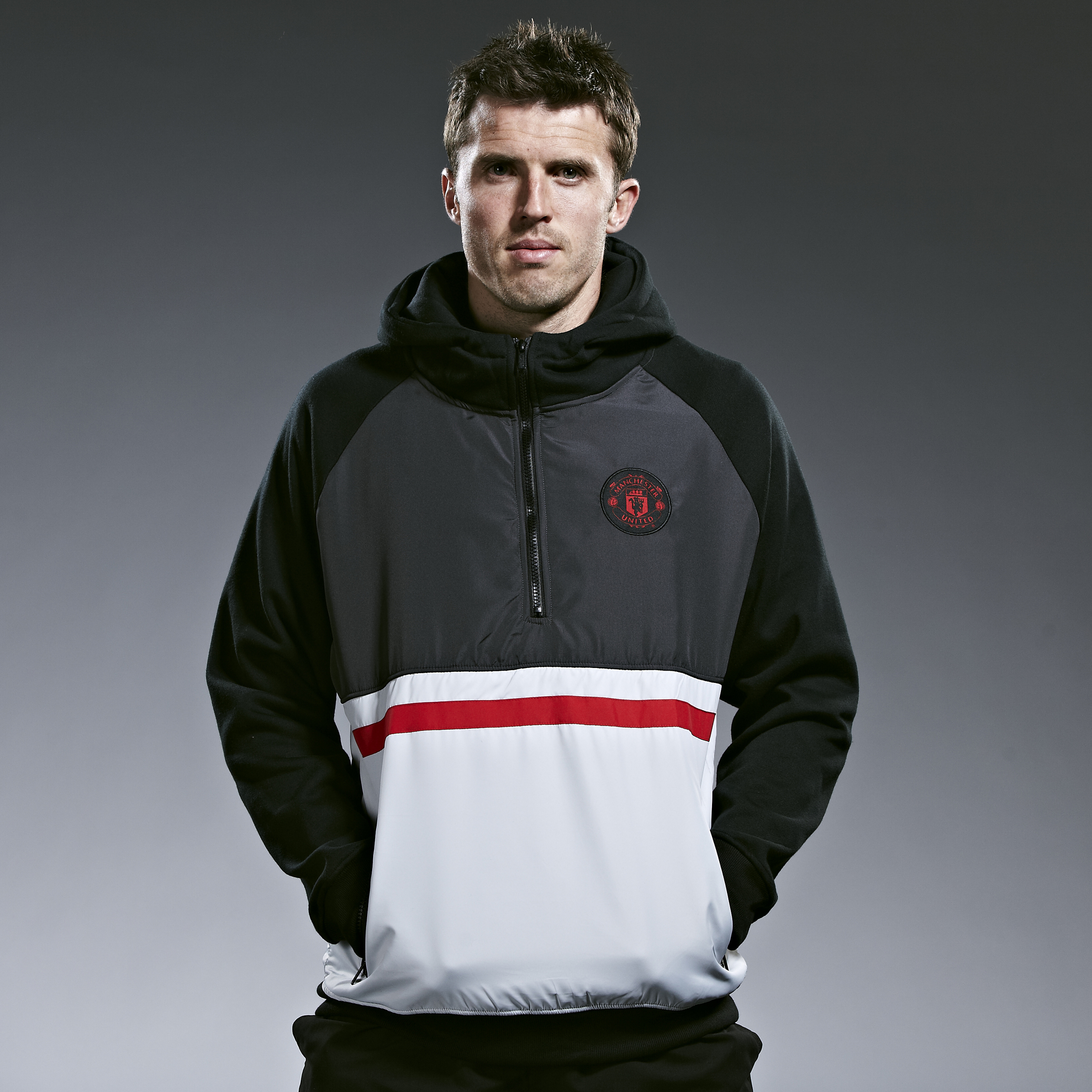 Manchester United Classic Nylon Overlay 1/2 Zip Hoody - Black/Red/Grey Marl - Mens