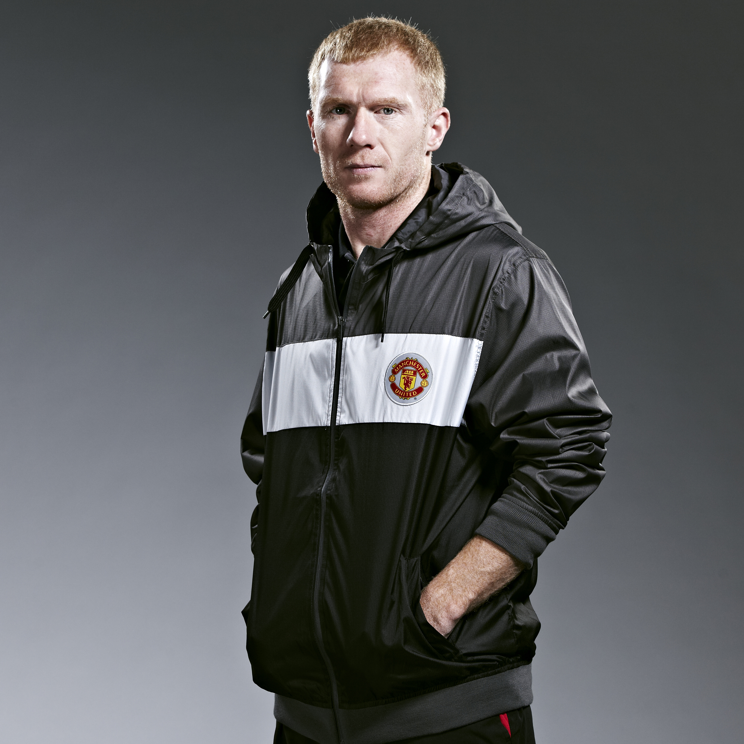 Manchester United Classic Paneled Shower Jacket - Carbon - Mens
