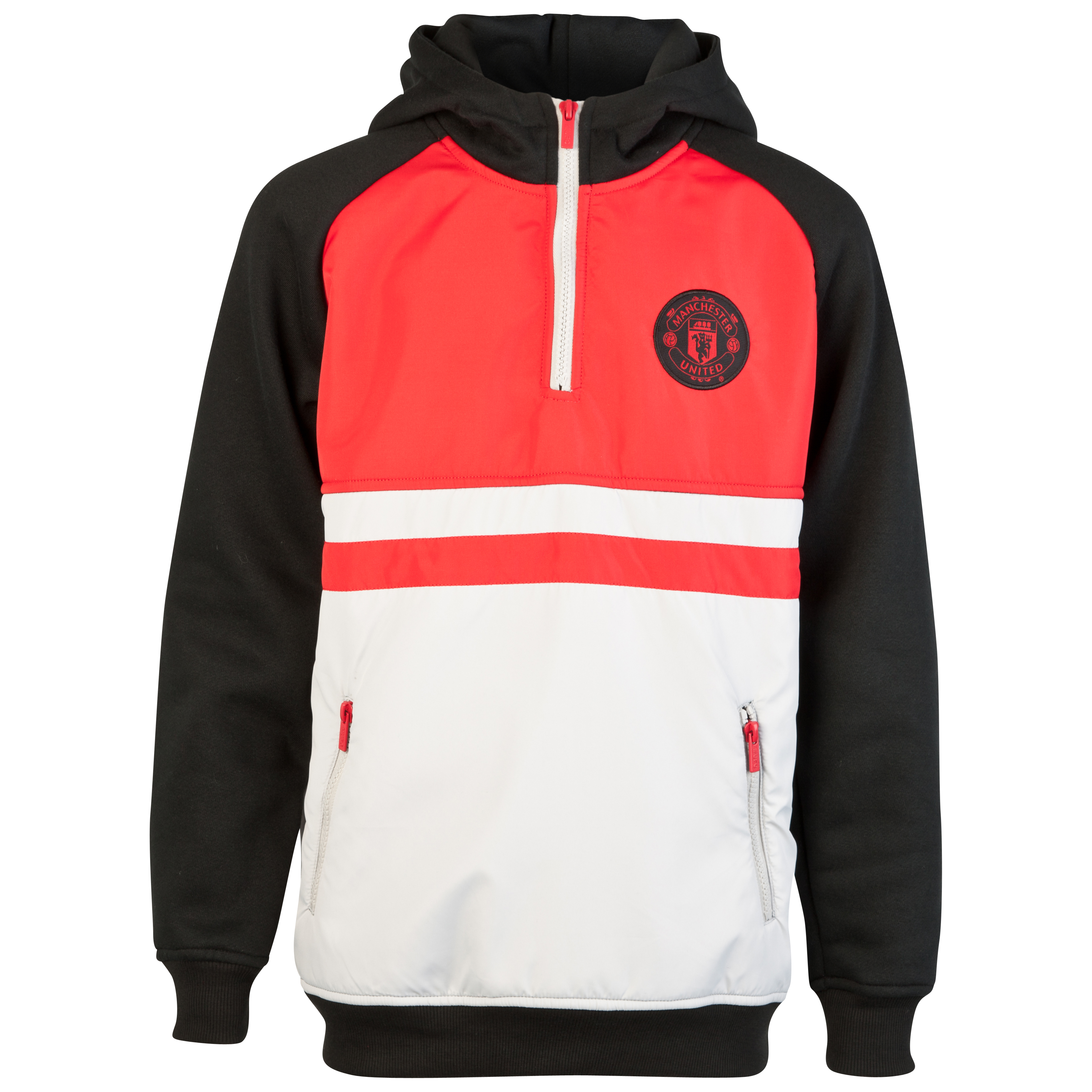 Manchester United Nylon Overlay 1/2 Zip Hoody - Black/Red/Grey Marl - Older Boys