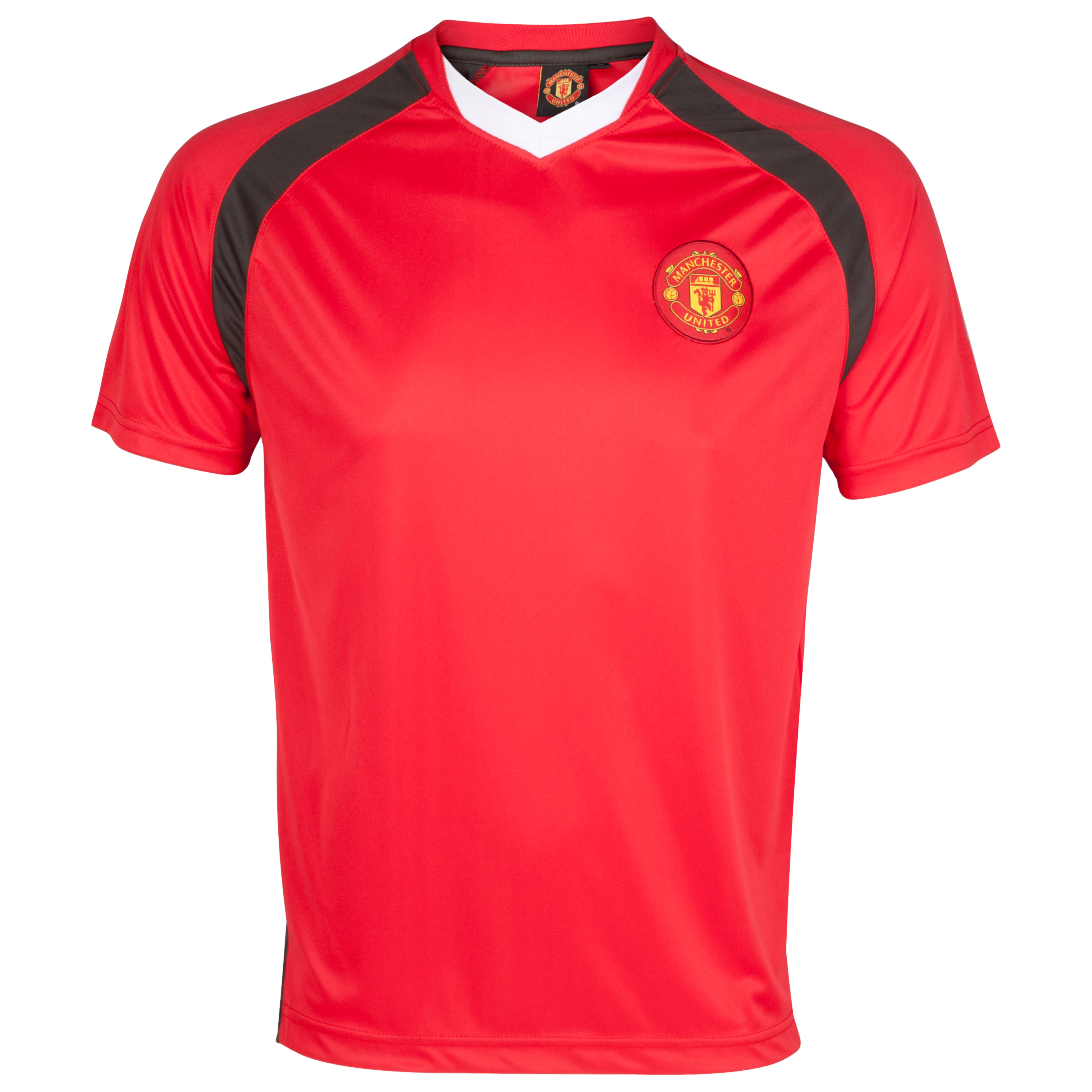Manchester United Essentials V Neck Poly Panel T-Shirt - OT Red - Mens