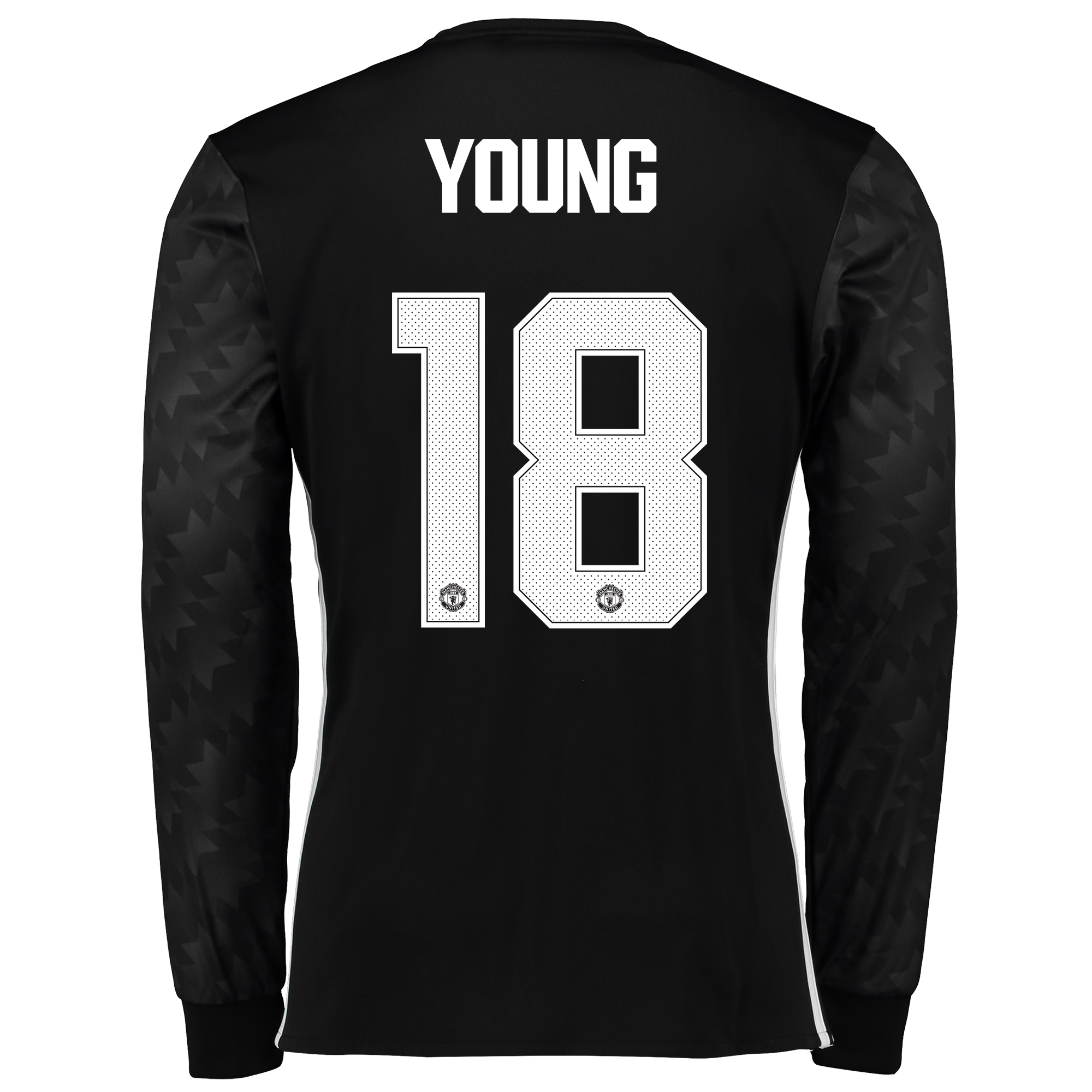 Image of Manchester United Away Cup Shirt 2017-18 - Long Sleeve with Young 18 printing