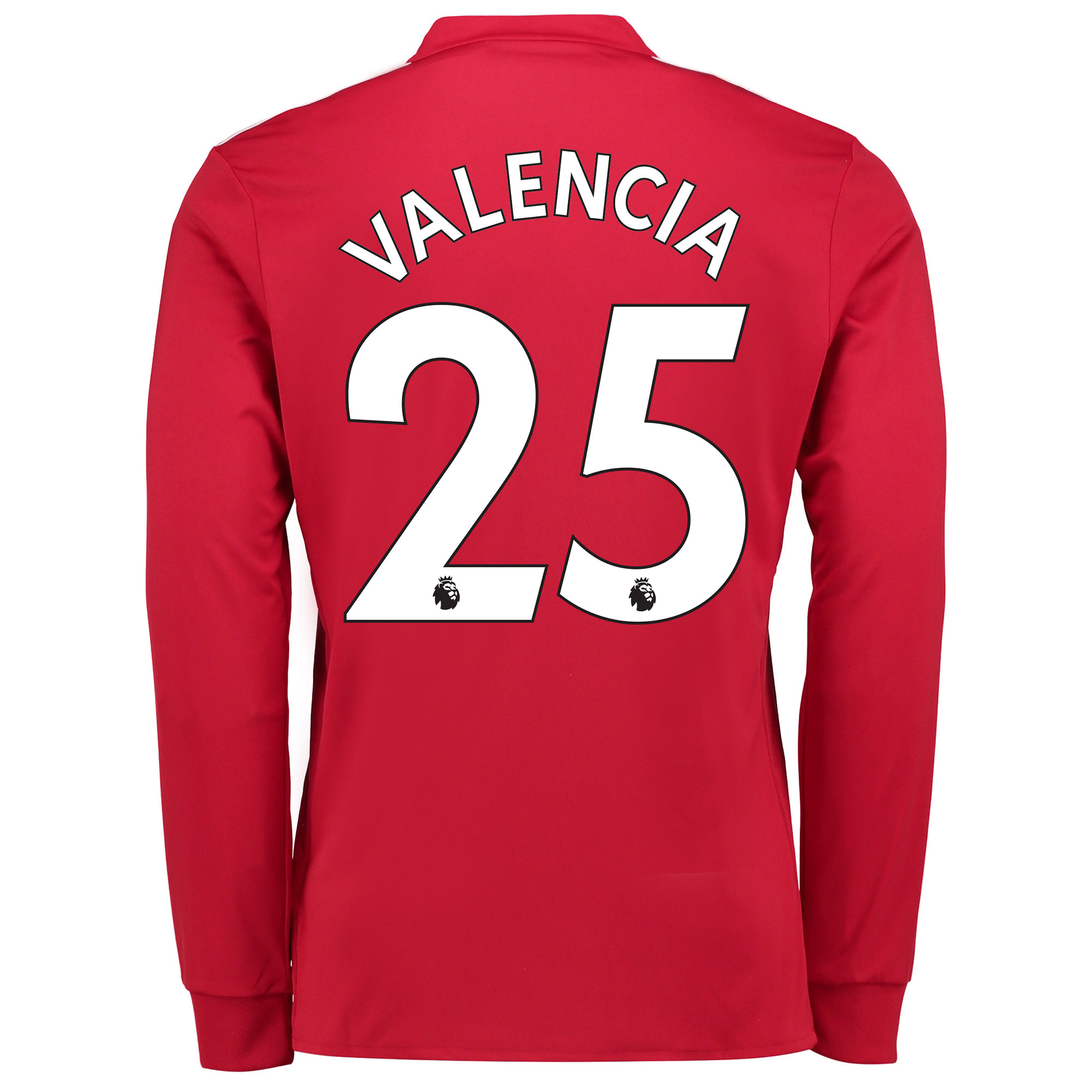 Manchester United Home Shirt 2017-18 - Long Sleeve with Valencia 25 pr