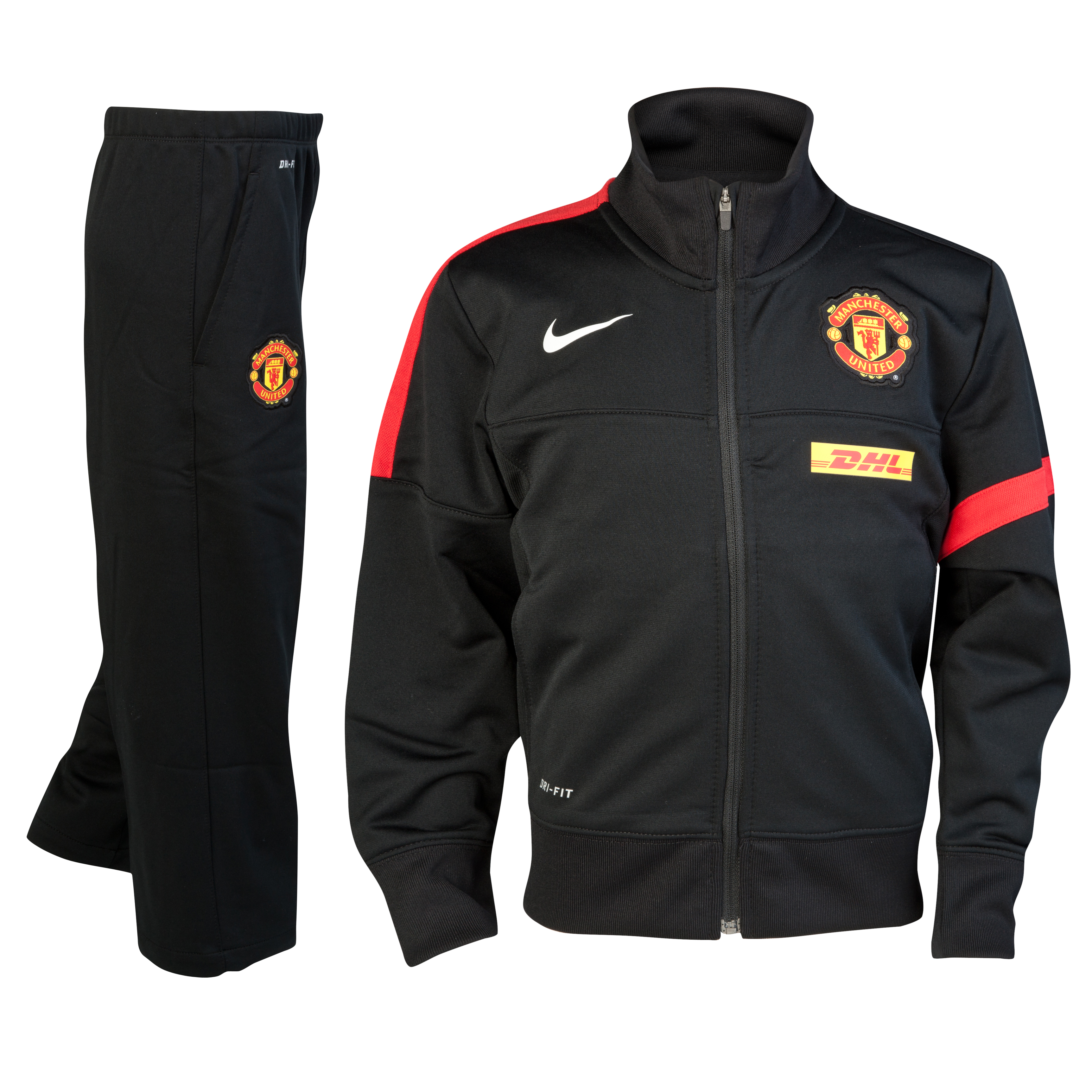 Manchester United Sideline Warm-up Knit Tracksuit - Black/Black/Diablo Red/White - Little Kids