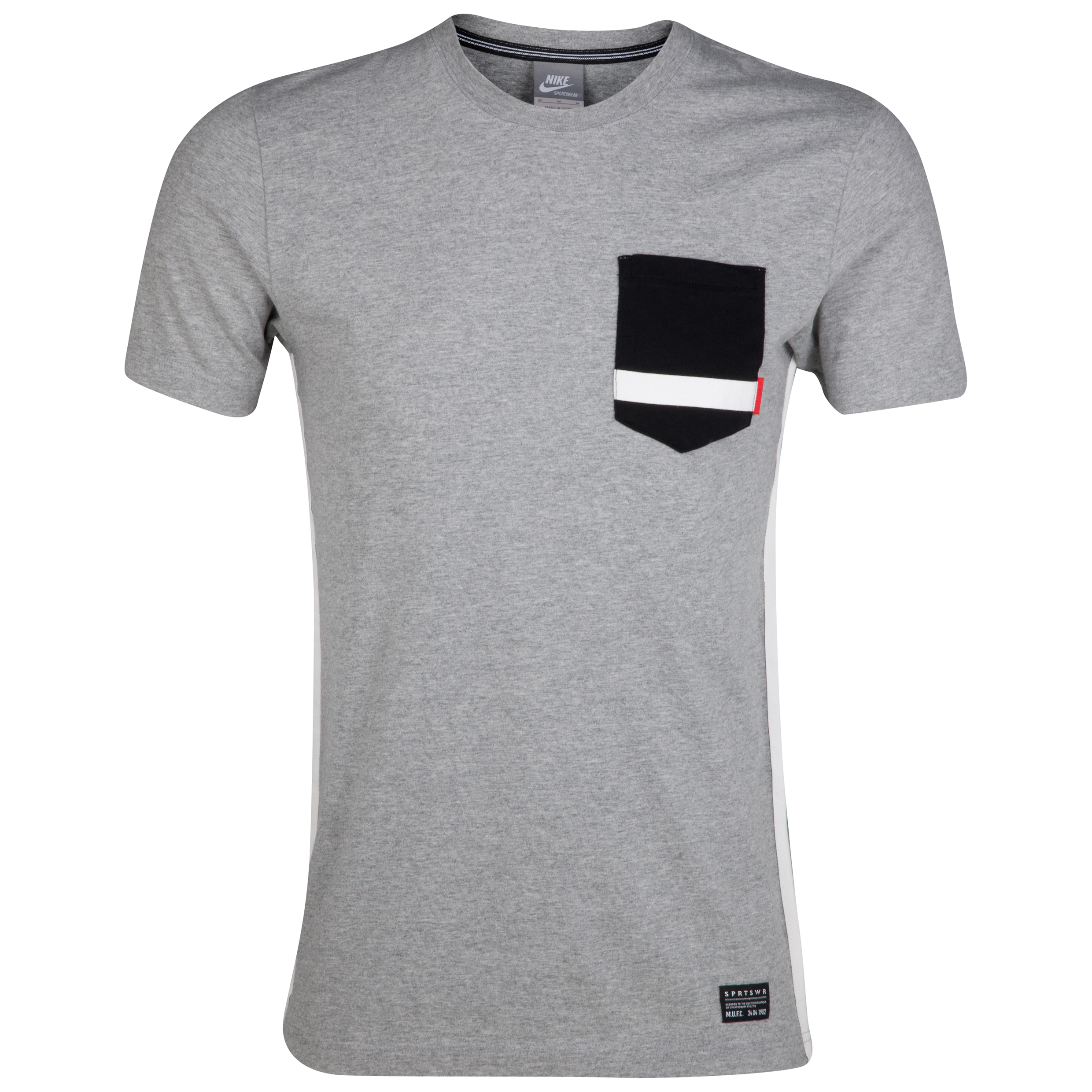 Manchester United NSW Pocket T-Shirt - Dark Grey Heather