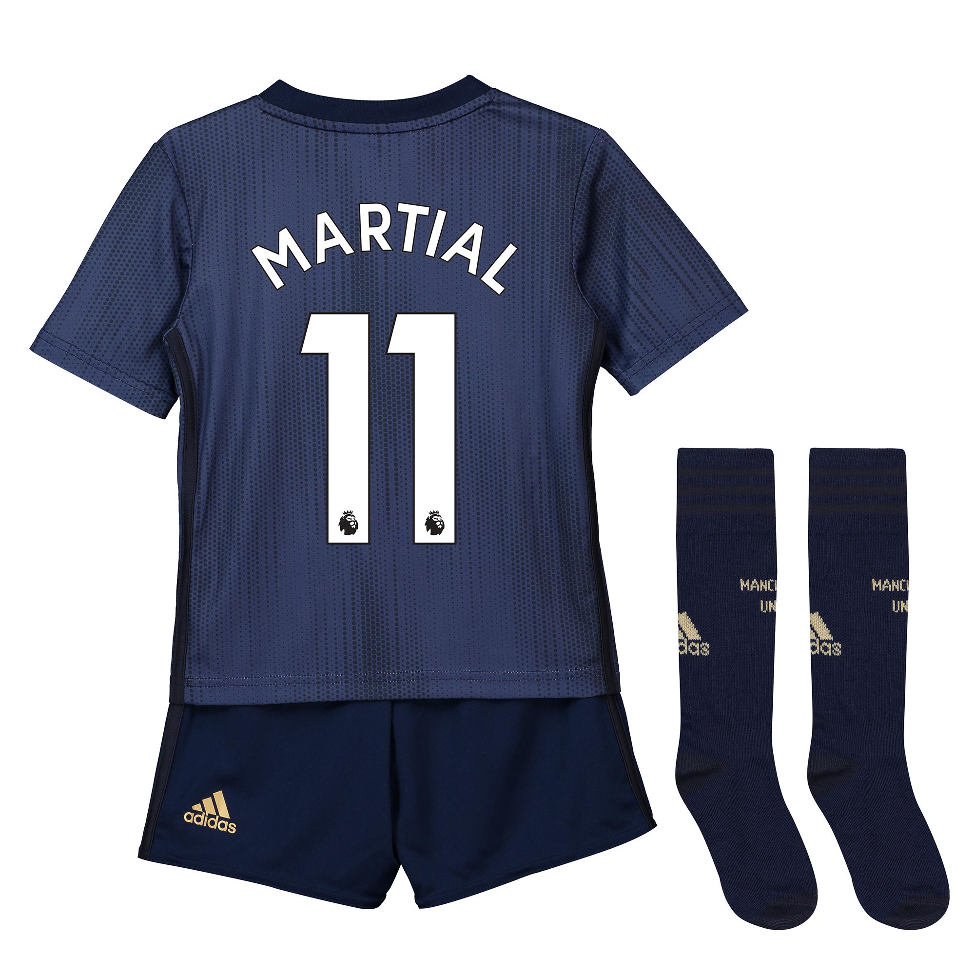 Tercera equipación en tamaño mini del Manchester United 2018-19 dorsal Martial 11