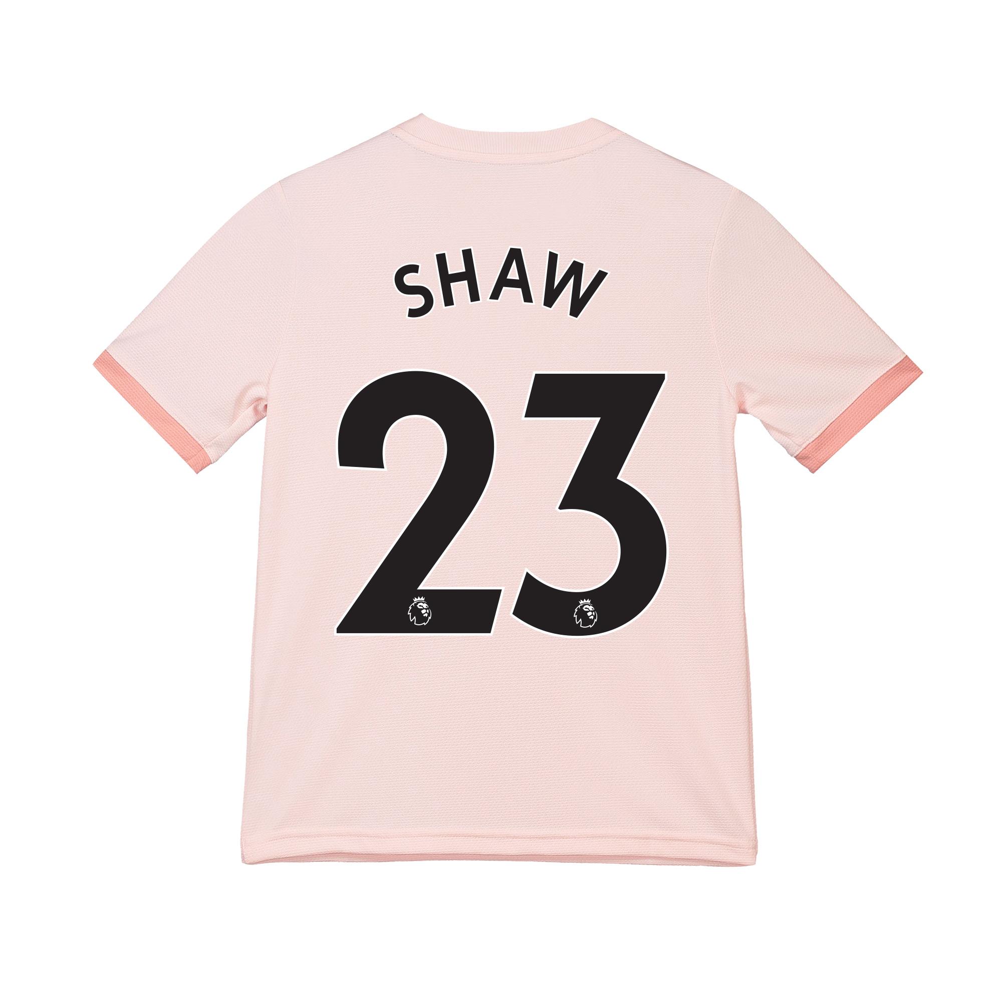Camiseta de la equipación visitante del Manchester United 2018-19 para niños dorsal Shaw 23