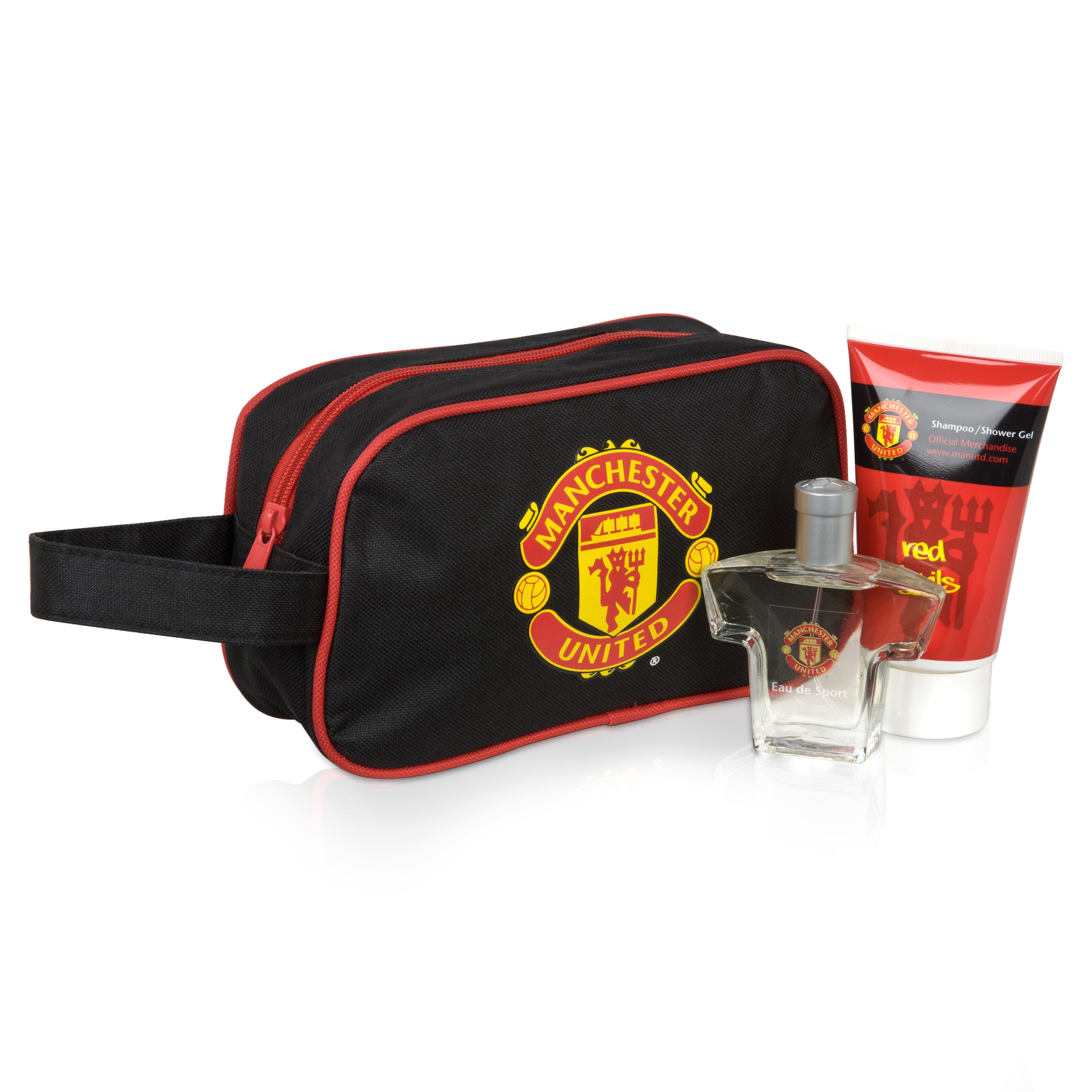 Manchester United Wash Bag-Eau De Sport-Shampoo-Shower Gel Set