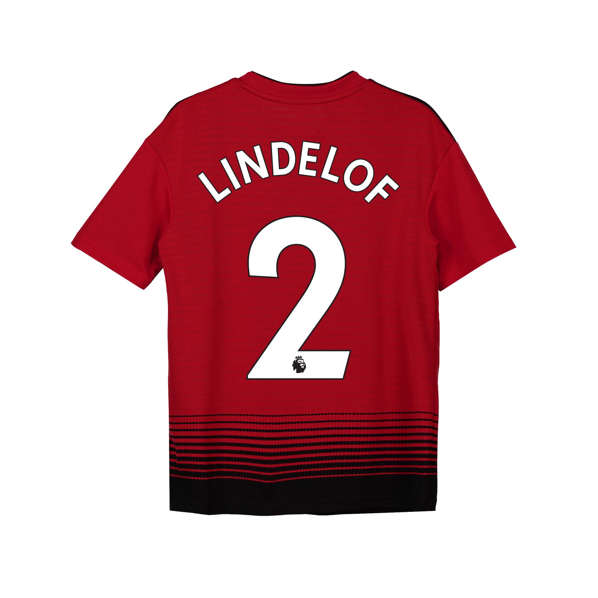 Camiseta de la equipación local del Manchester United 2018-19 para niños dorsal Lindelof 2