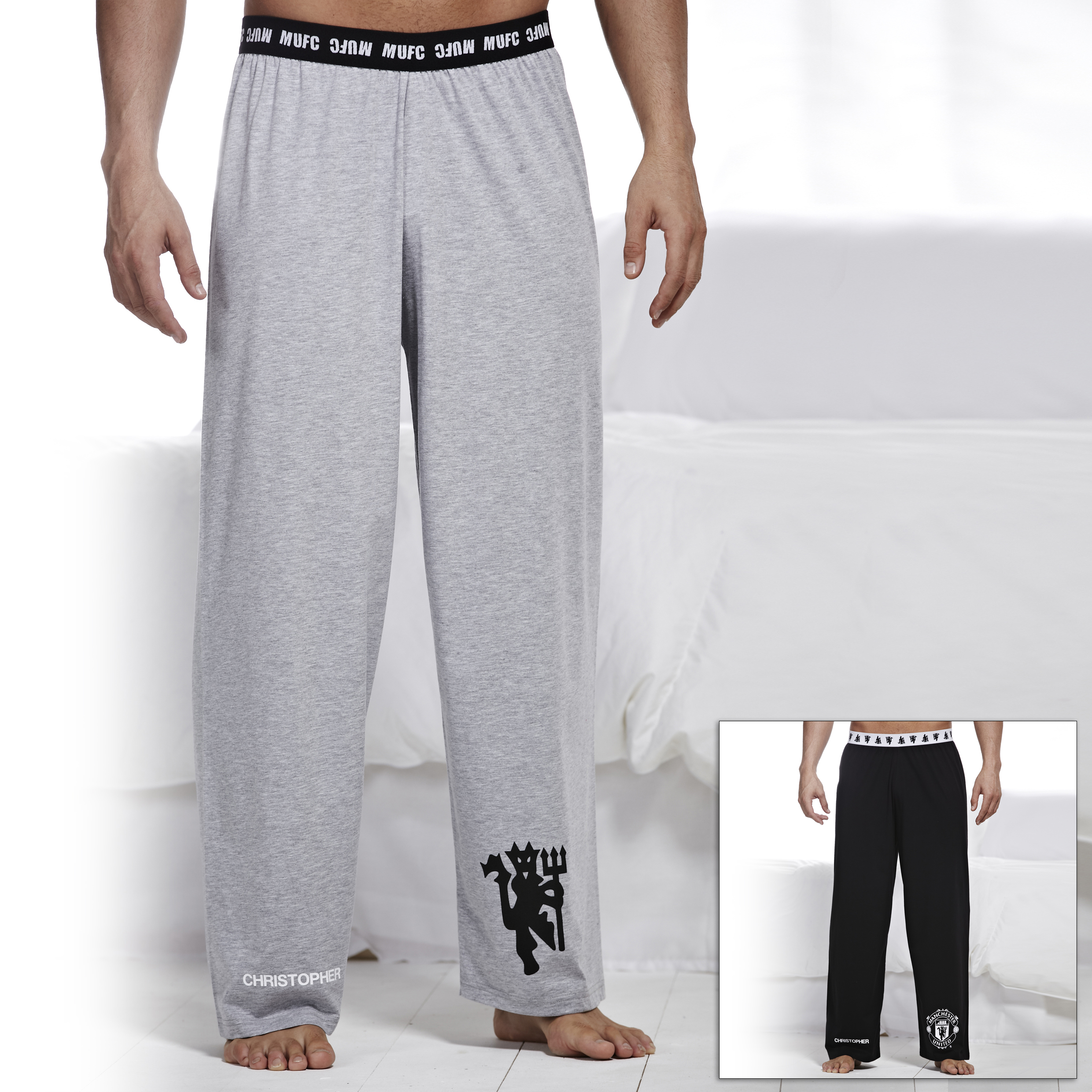 Manchester United 2 Pack Lounge Pants - Black/Grey - Mens