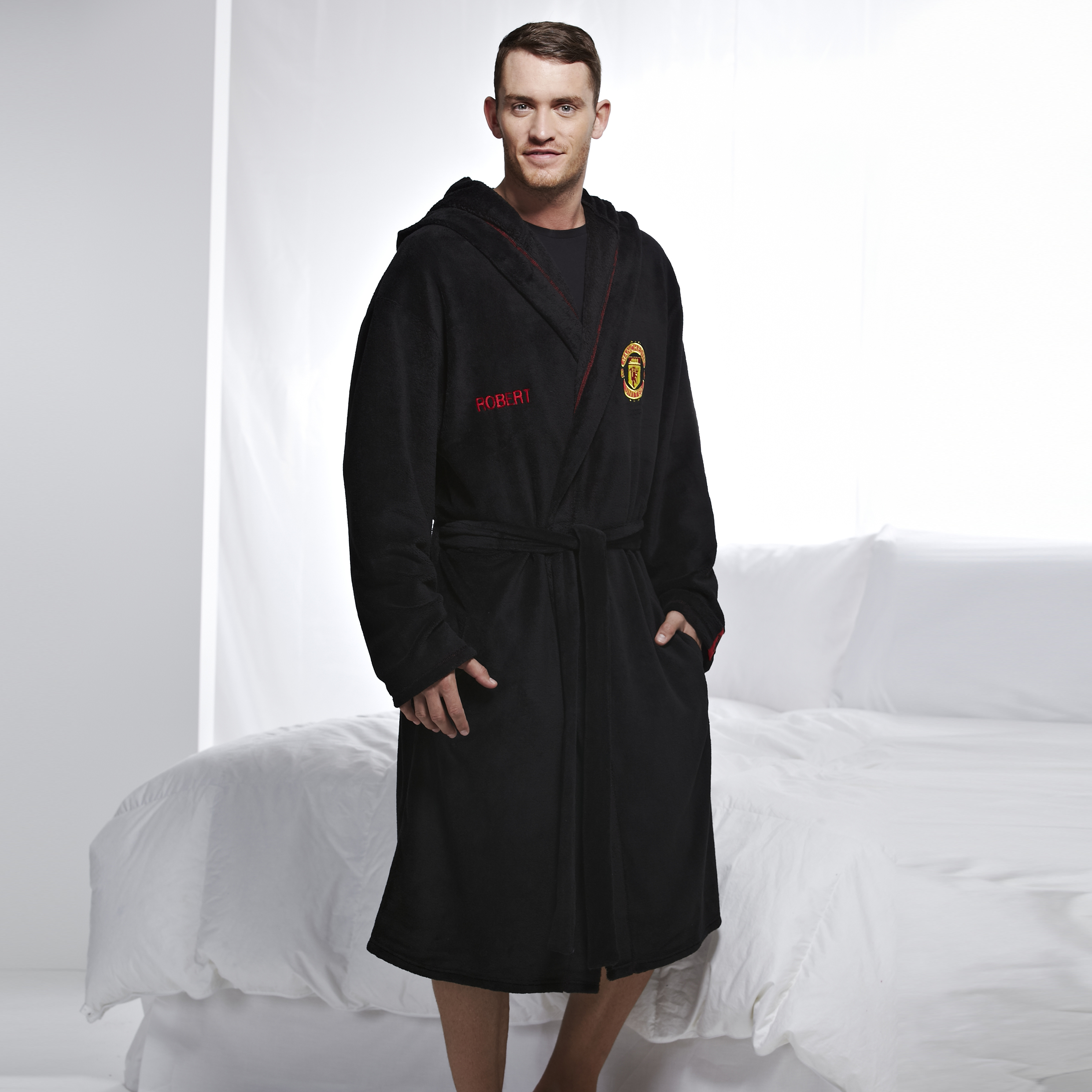 Manchester United Crest Supersoft Robe - Black - Mens