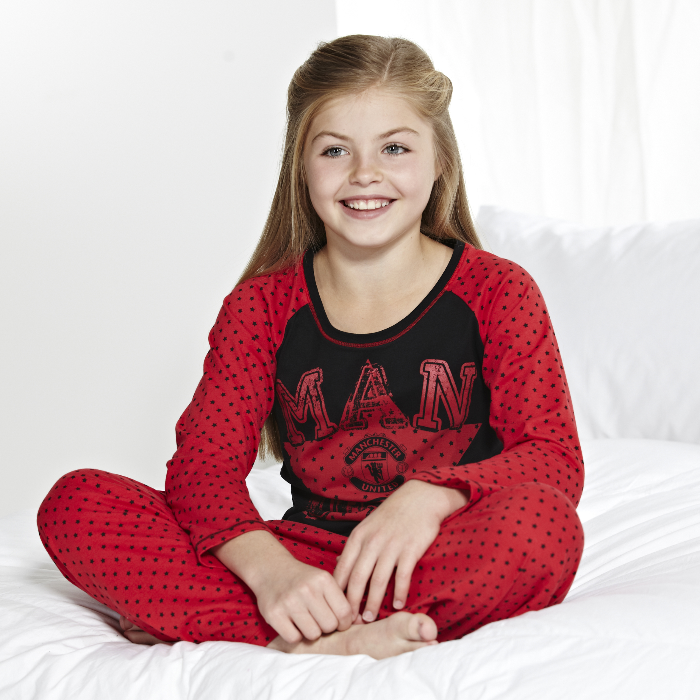 Manchester United Long Star Pyjamas - Red/Black - Older Girls