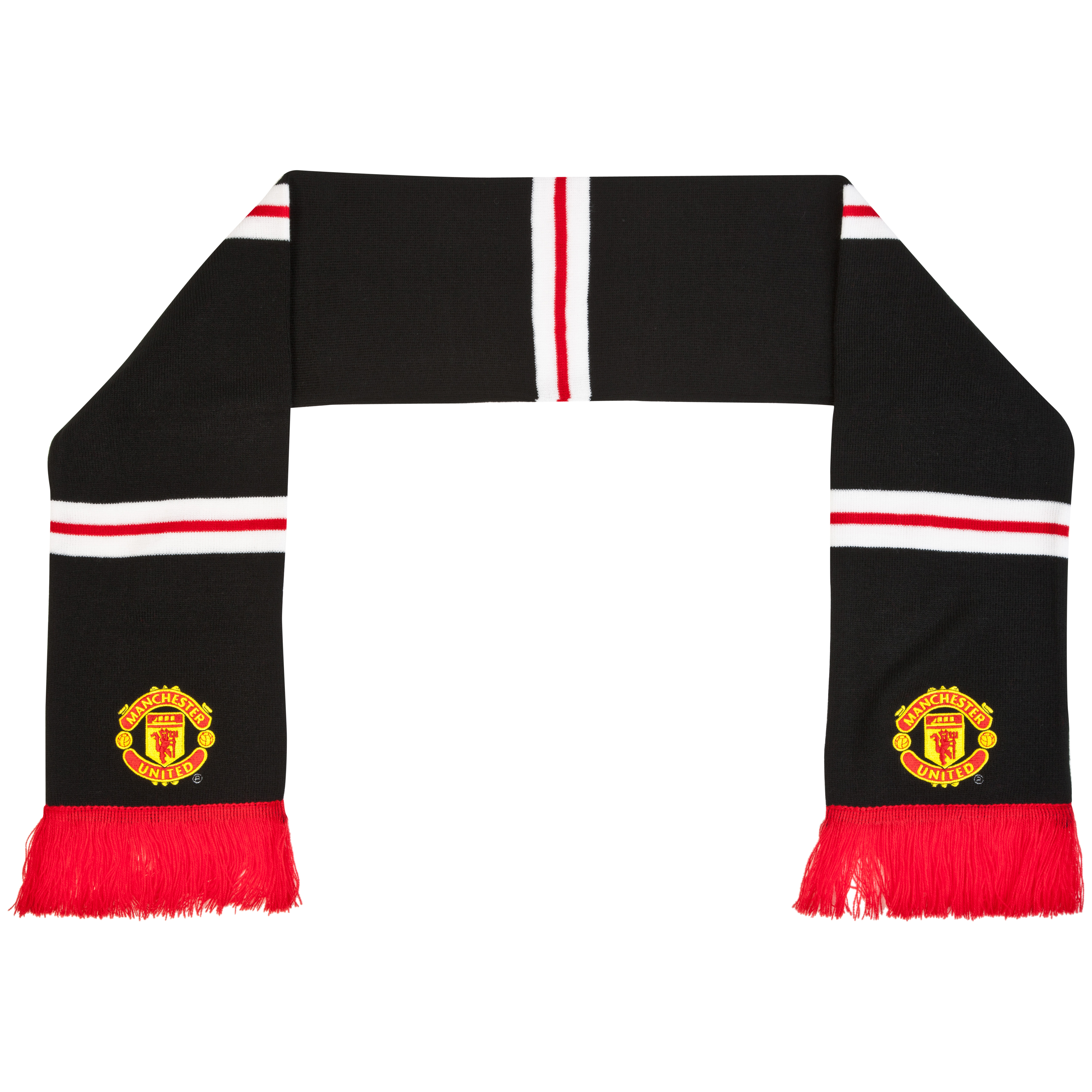 Manchester United Retro Bar Scarf - Black - Mens
