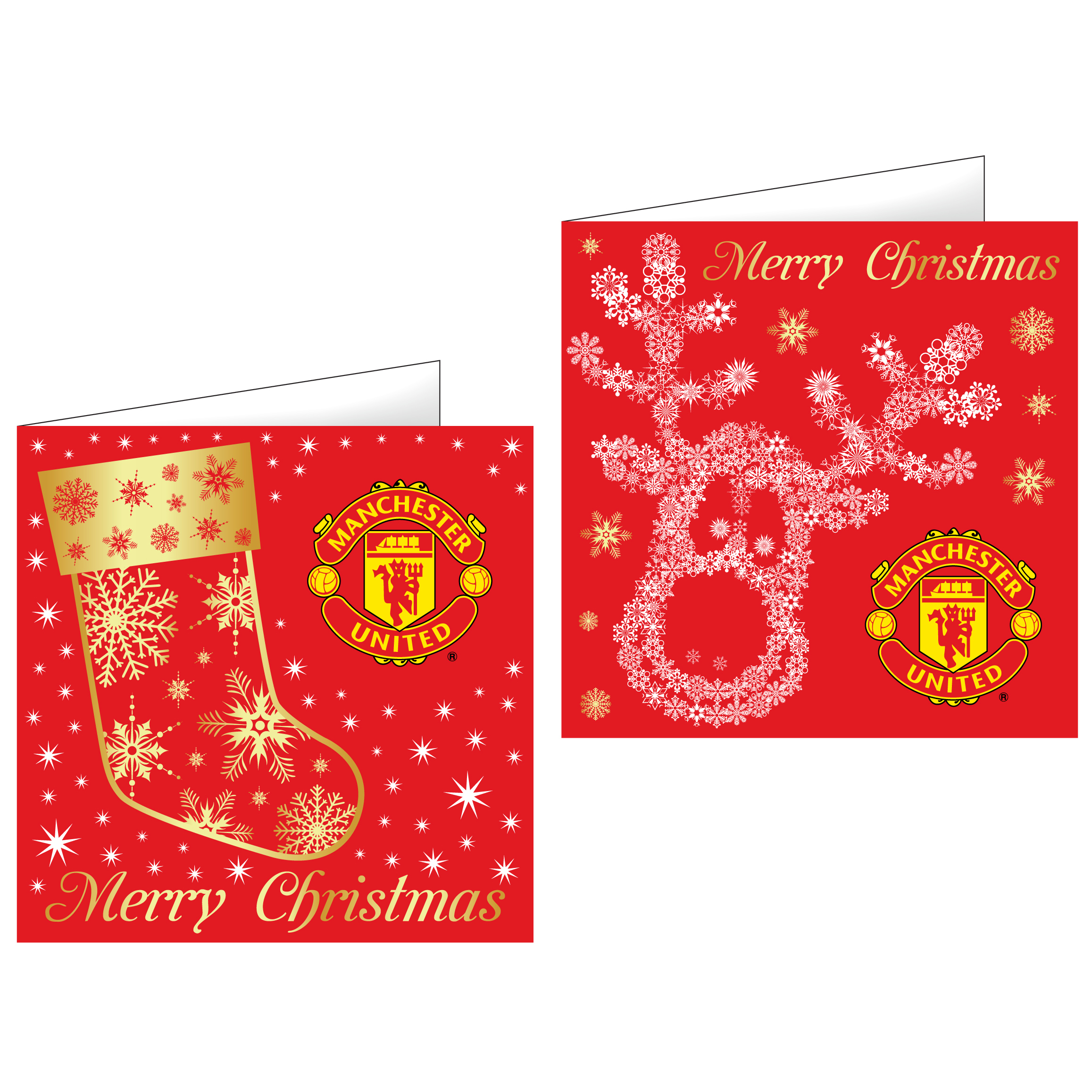 Manchester United Christmas Foiled Greeting Cards - 10 Pack