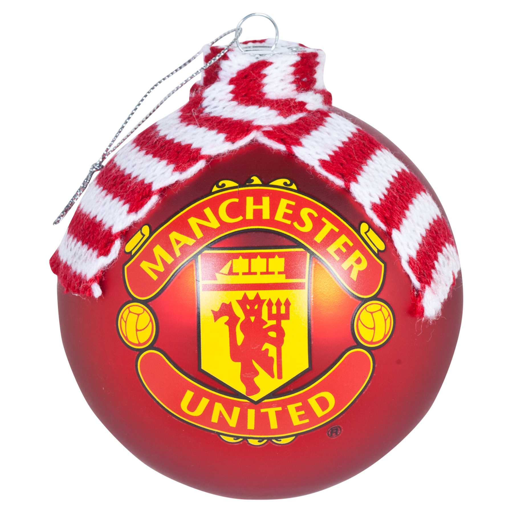 Manchester United Christmas Scarf Bauble - 100mm