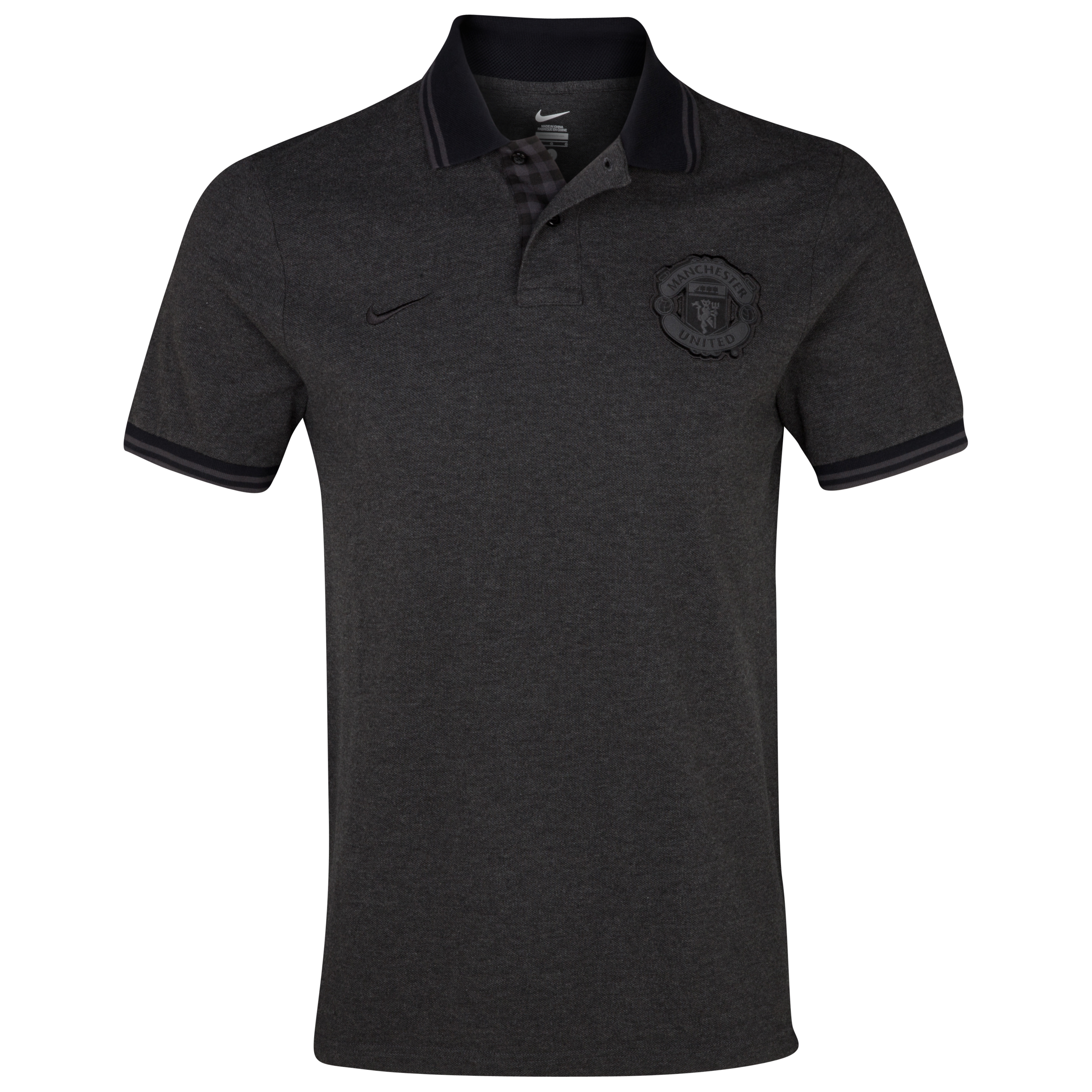 Manchester United Authentic Grand Slam Polo - Black Heather/Black