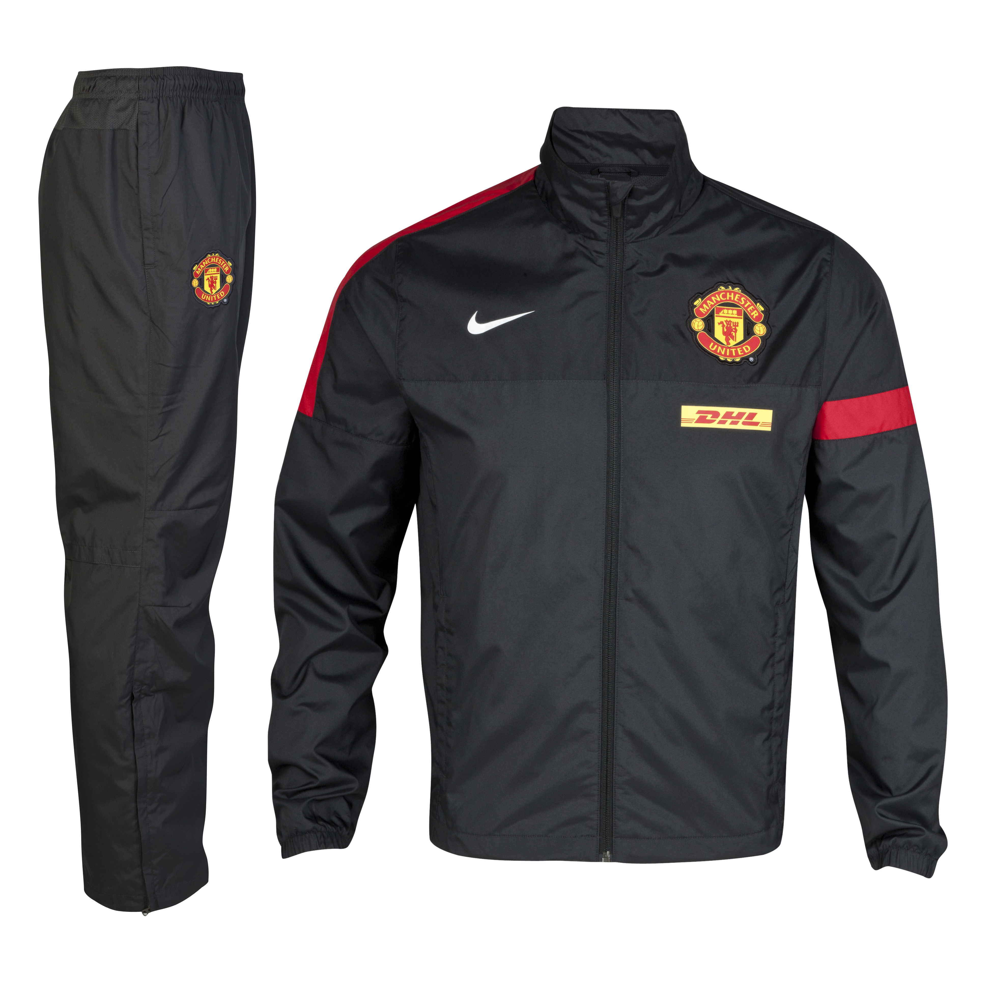 Manchester United Sideline Warm-up Woven Tracksuit - Anthracite/Black/Diablo Red/White - Youths