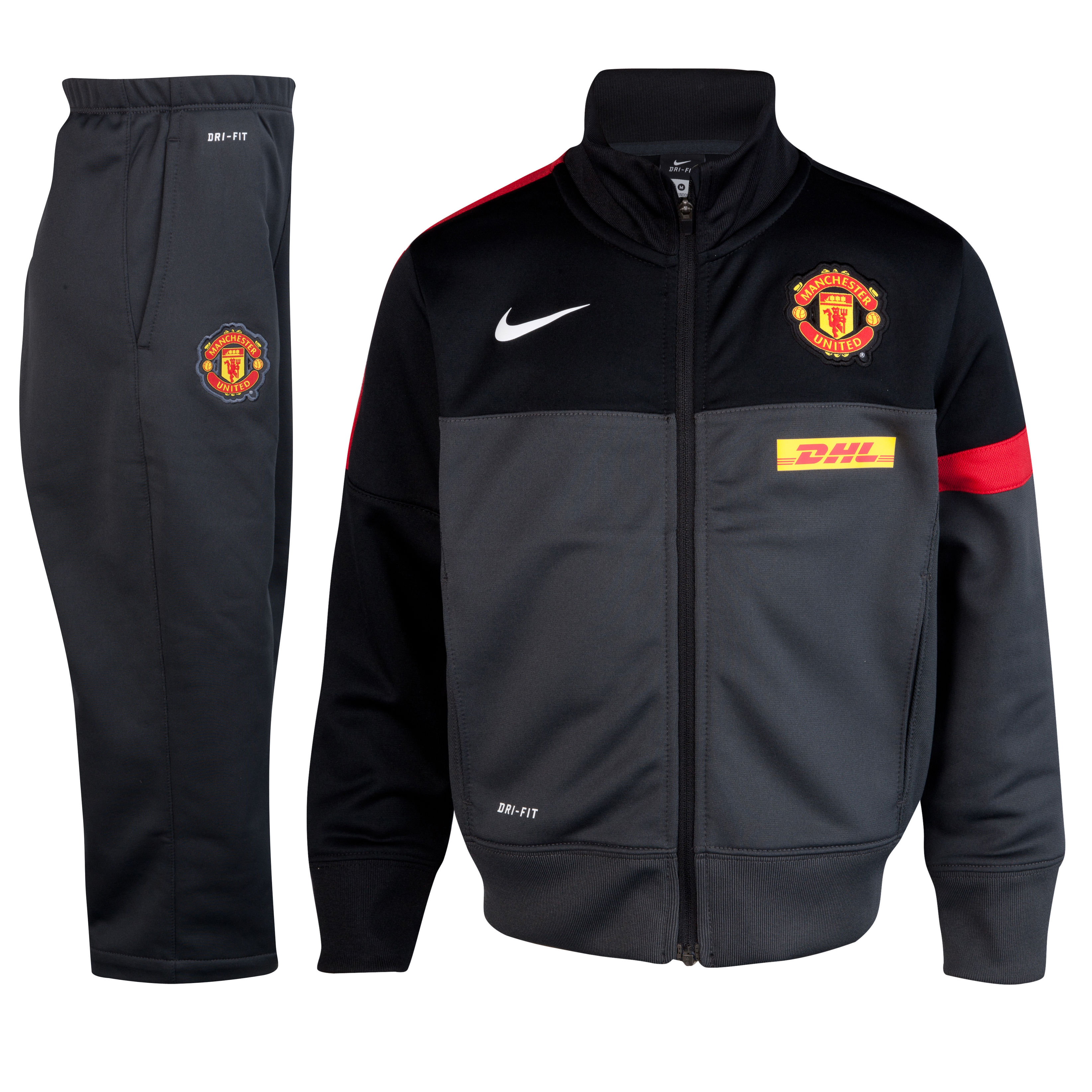 Manchester United Sideline Warm-up Knit Tracksuit - Anthracite/Black/Diablo Red/White- Little Kids
