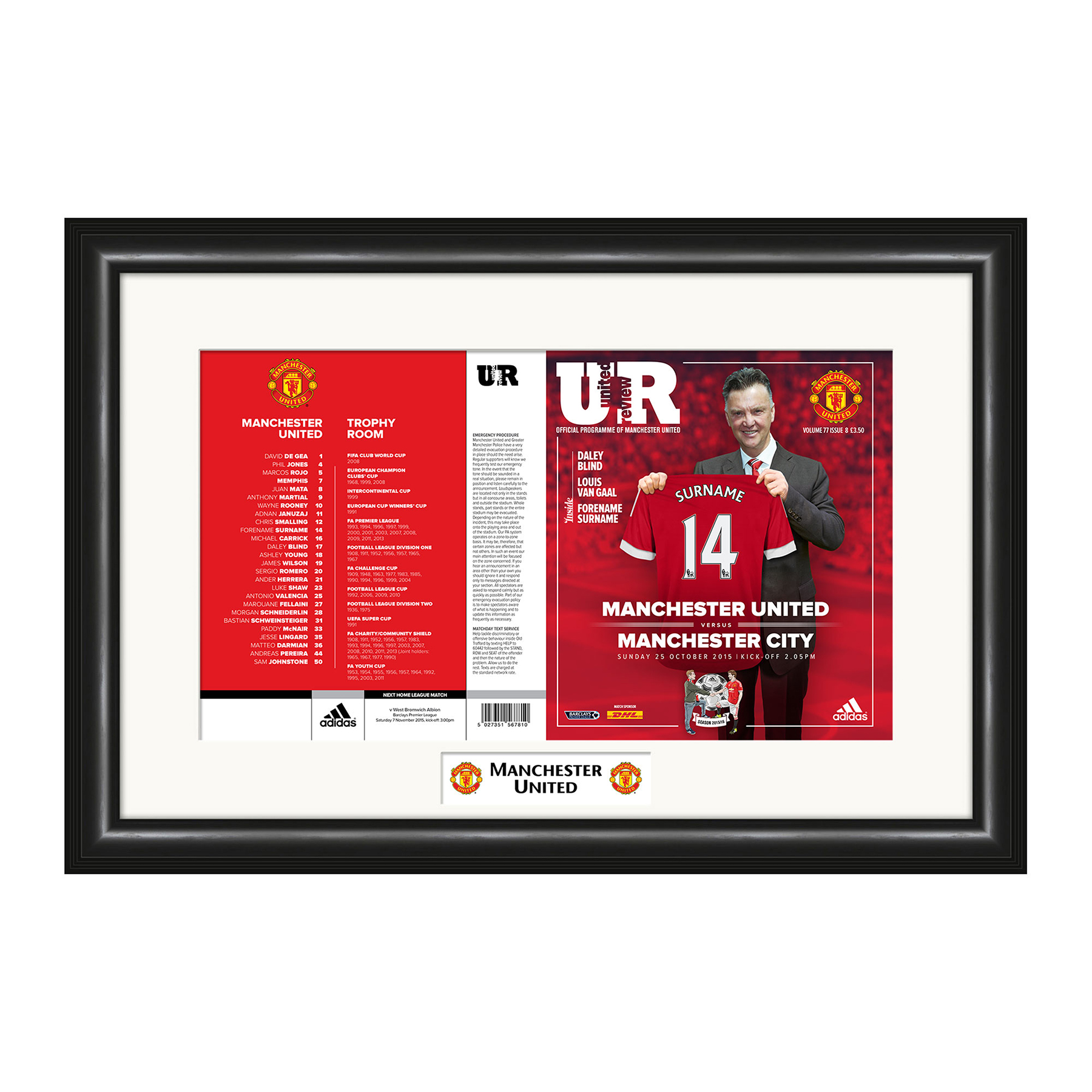 Manchester United Personalised Matchday Programme