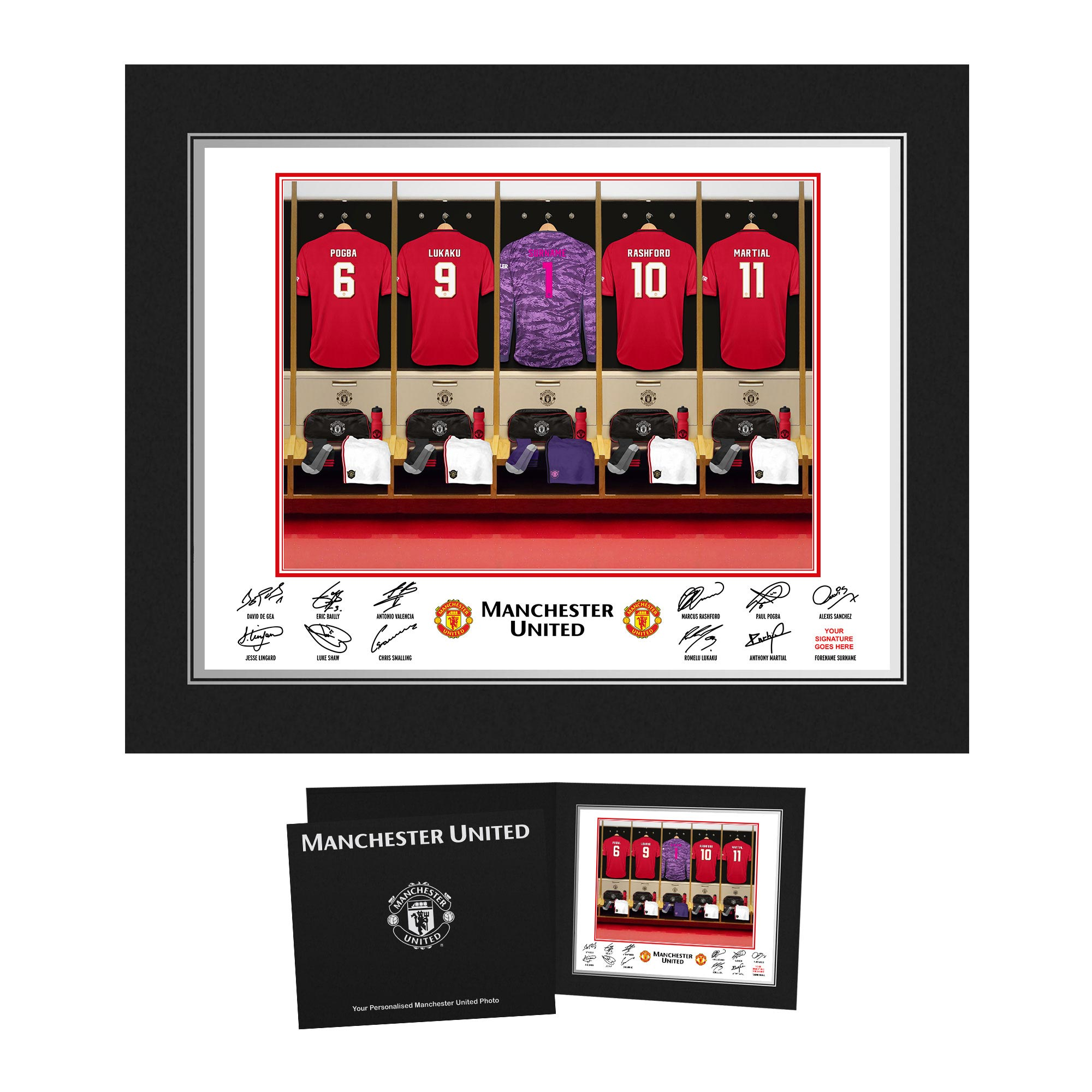 Manchester United Personalised Goal Keeper Dressing Room Photo in Presentation Folder
