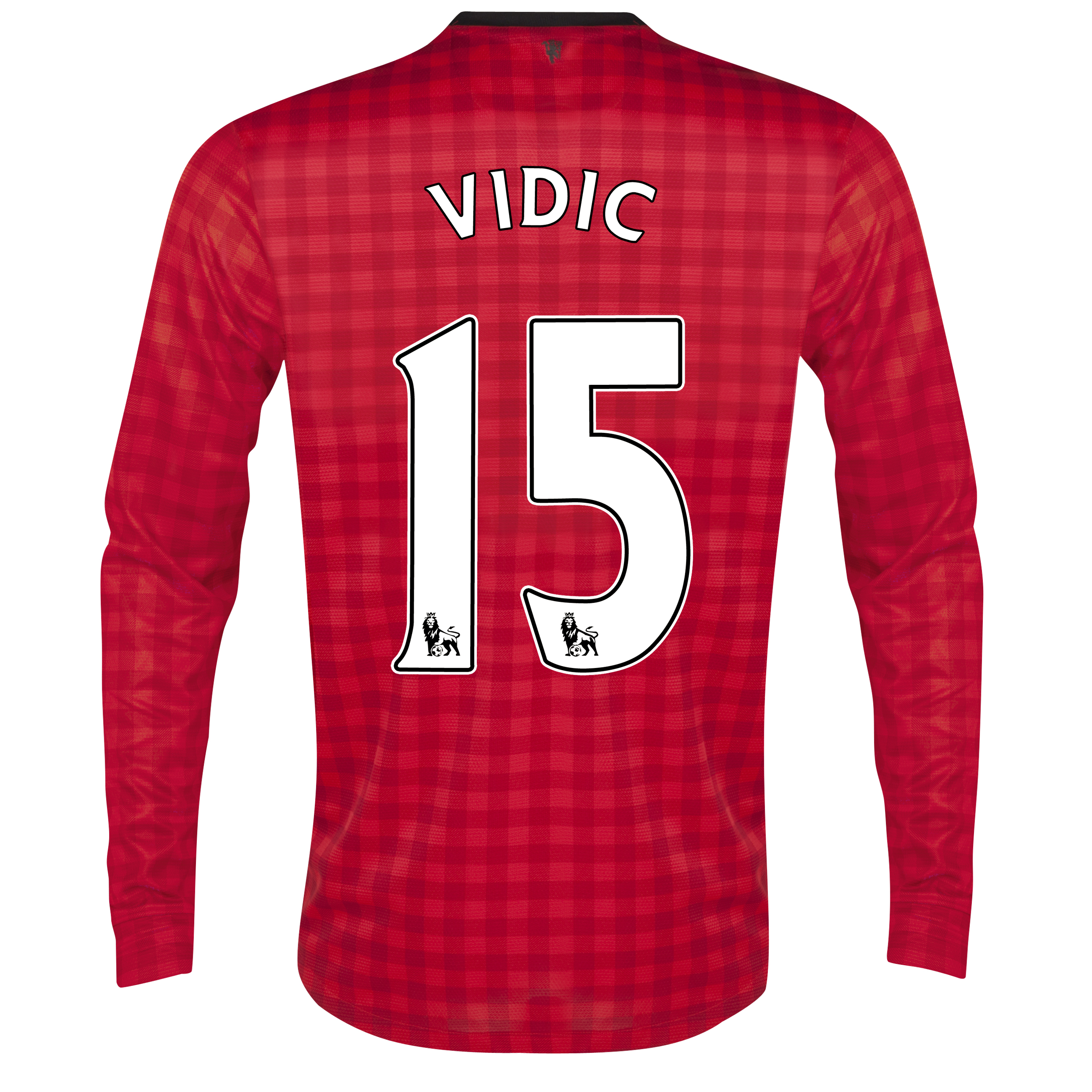 Manchester United Home Shirt 2012/13 - Long Sleeved with Vidic 15 printing