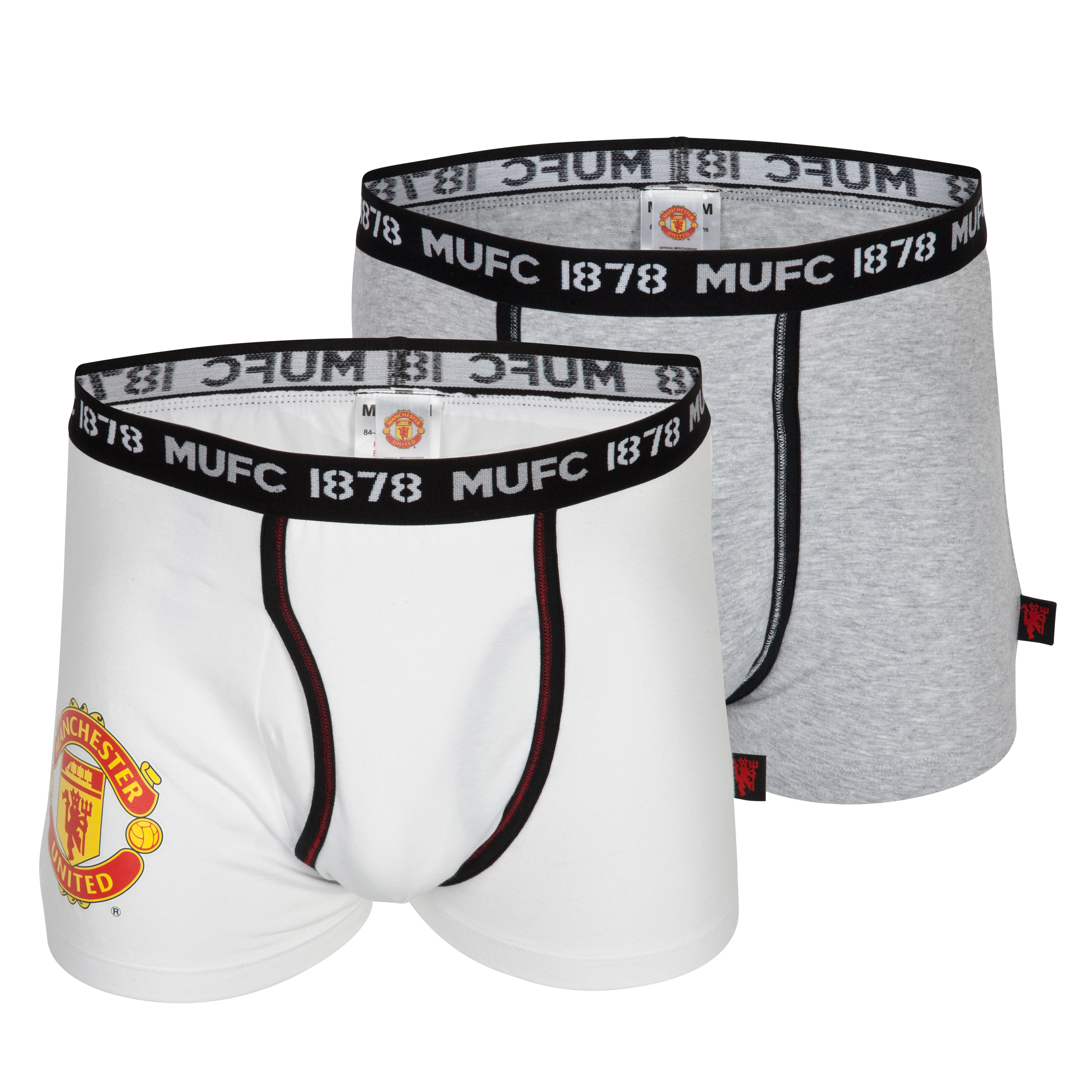 Manchester United 2 Pack Crest Boxer Shorts - Grey Marl/White - Mens