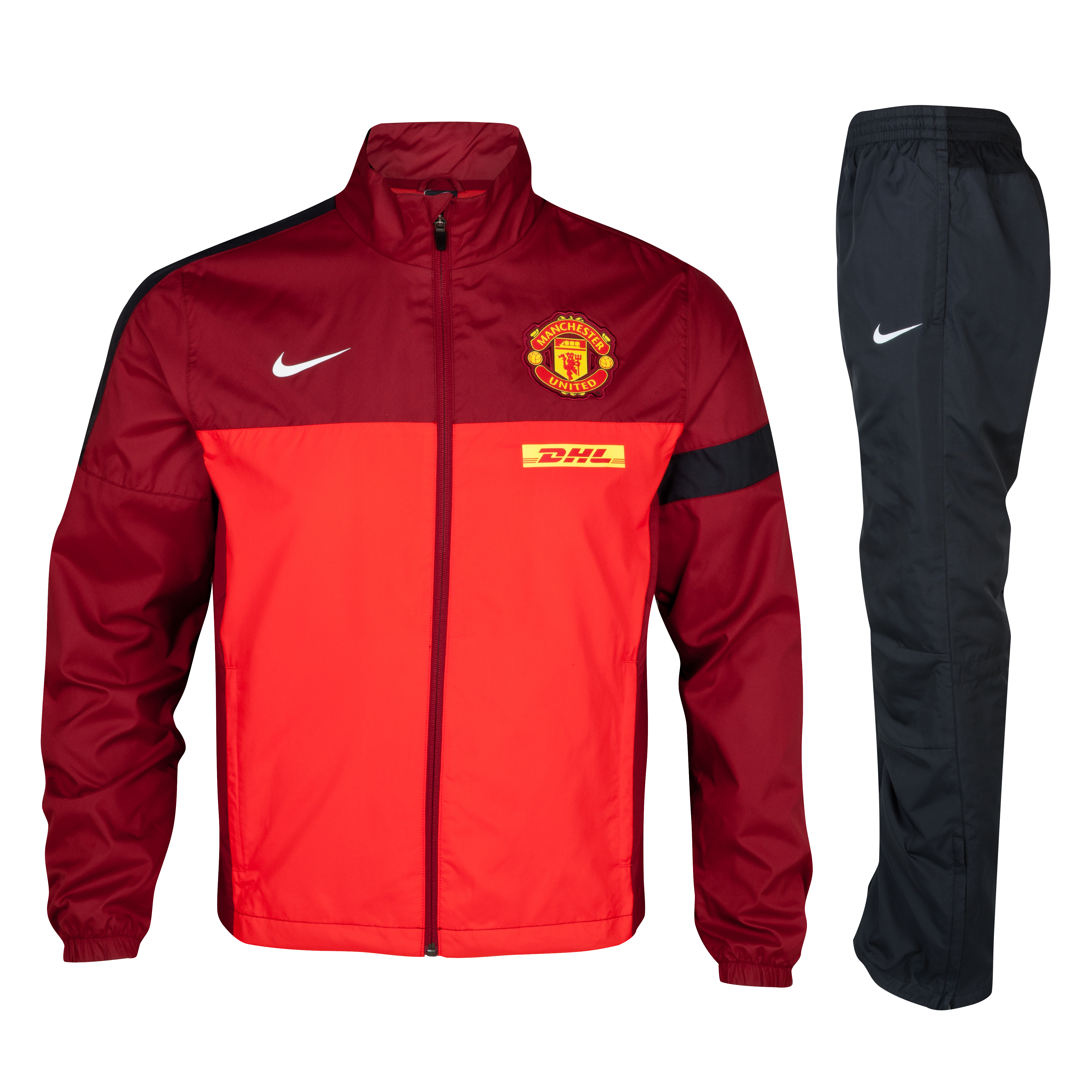 Manchester United Sideline Woven Warm Up Tracksuit - Challenge Red/Team Red/Black/White- Kids