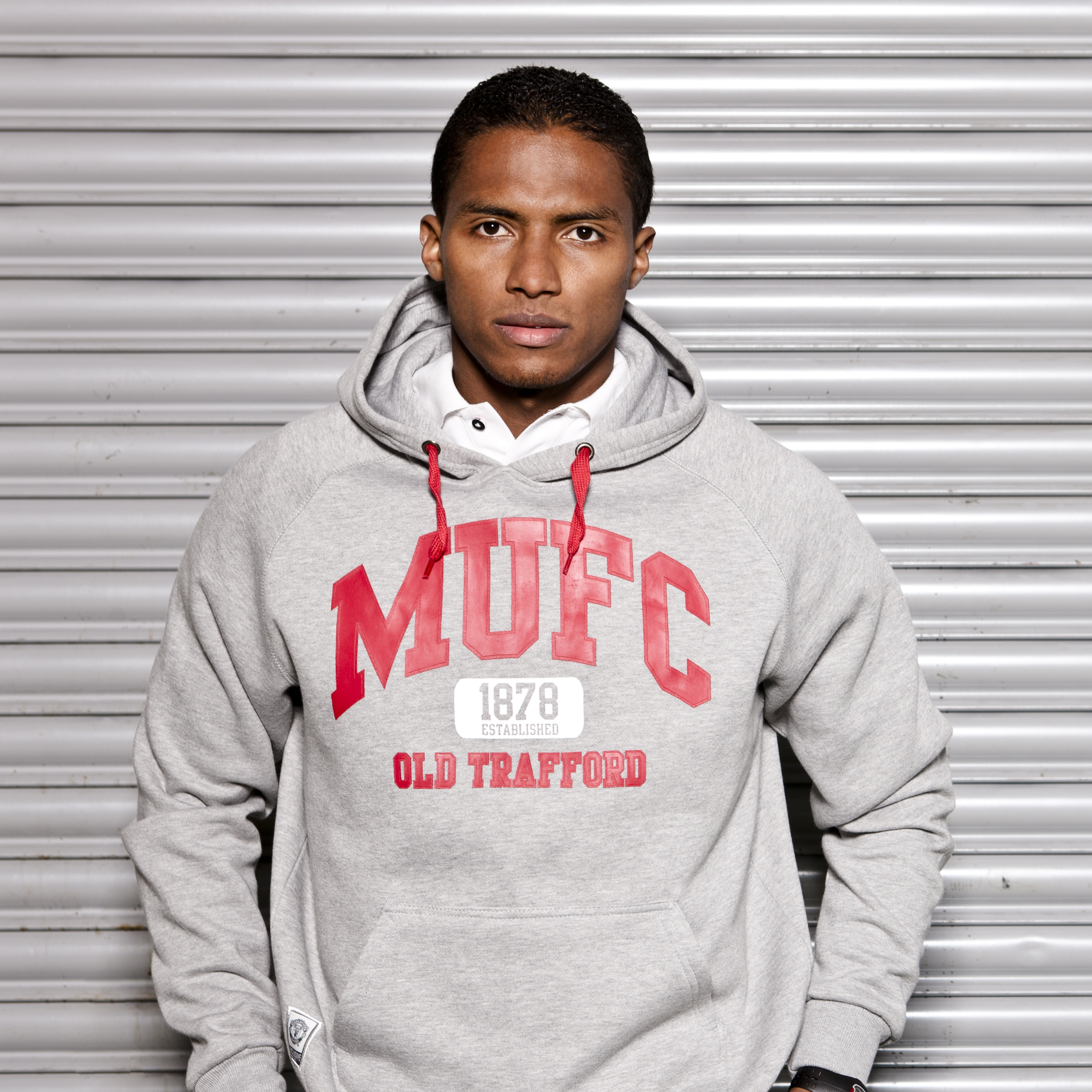 Manchester United Classic Collegiate Graphic Hoody - Grey Marl - Mens