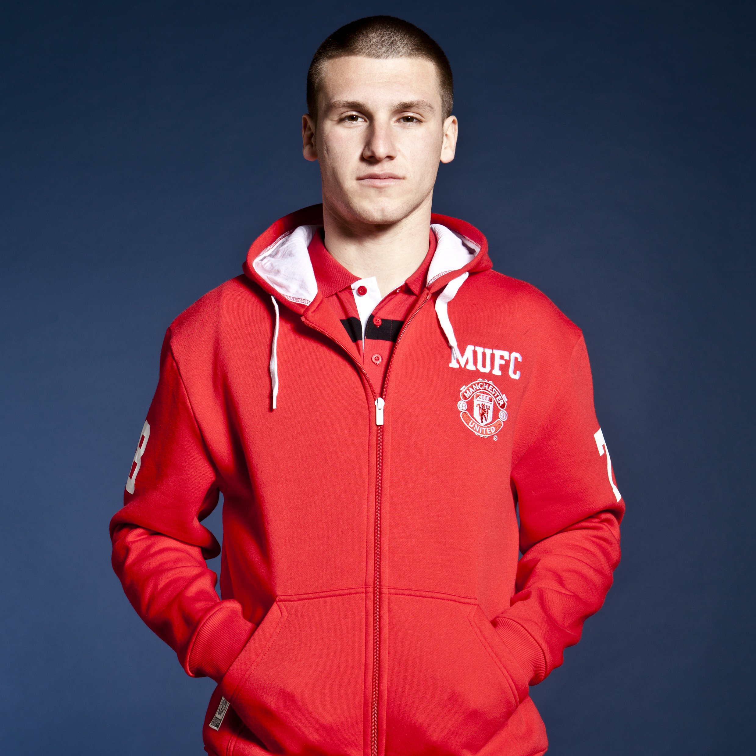 Manchester United Classic Collegiate Zip Through Hoody - OT Red - Mens