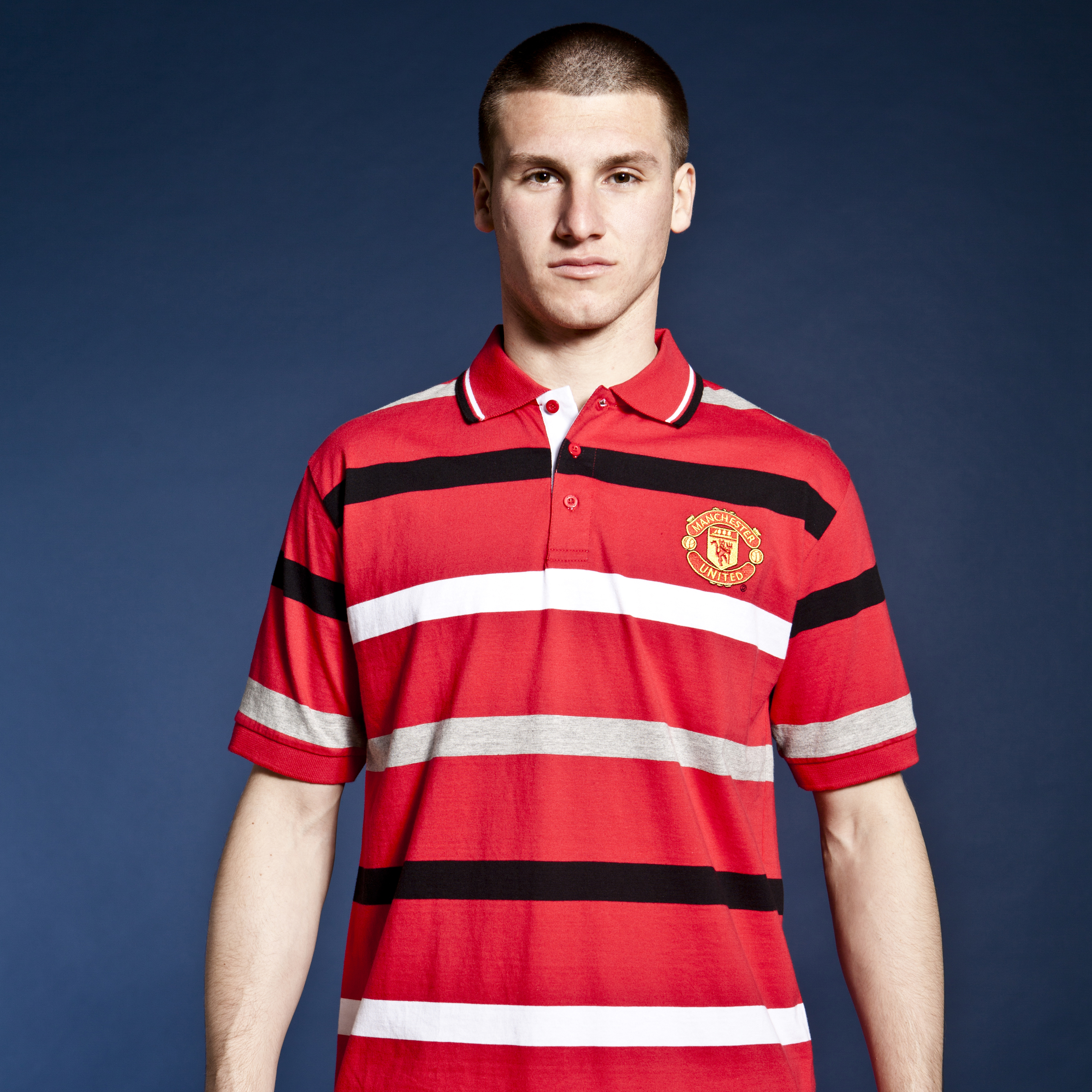 Manchester United Classic Yarn Dye Stripe Polo - OT Red - Mens
