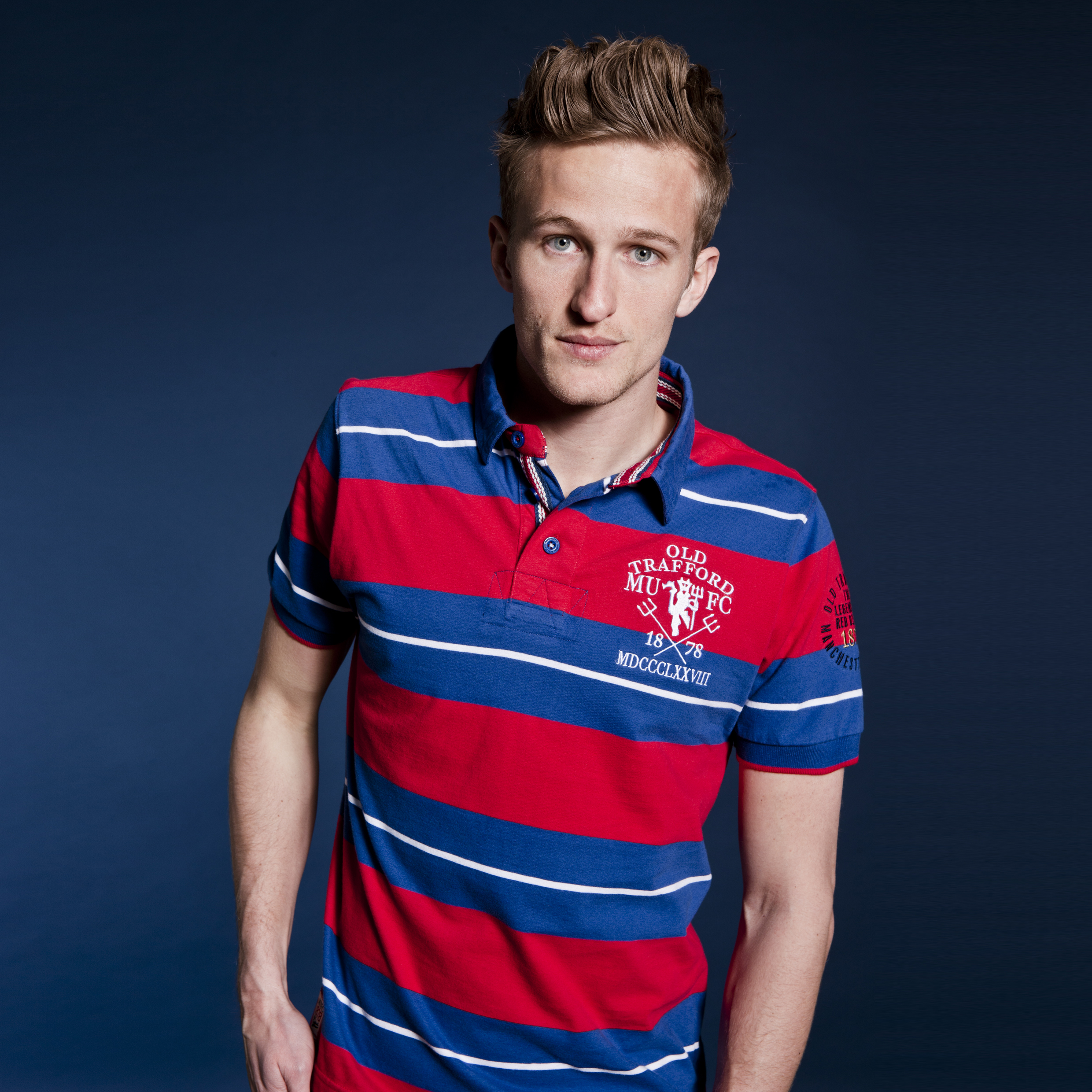 Manchester United Heritage Yarn Dye Stripe Polo - Marine - Mens