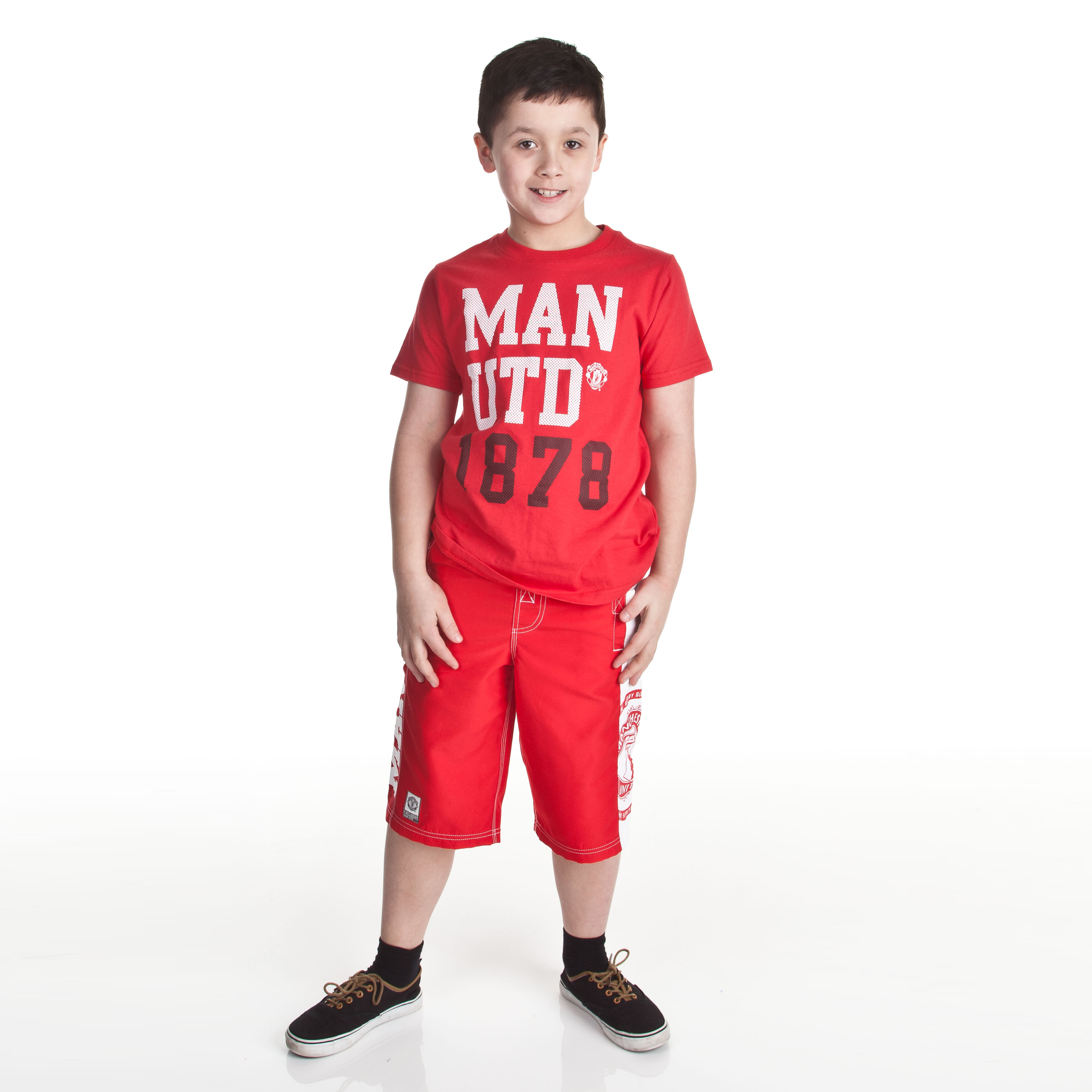 Manchester United Mesh Text Graphic T-Shirt - OT Red - Older Boys