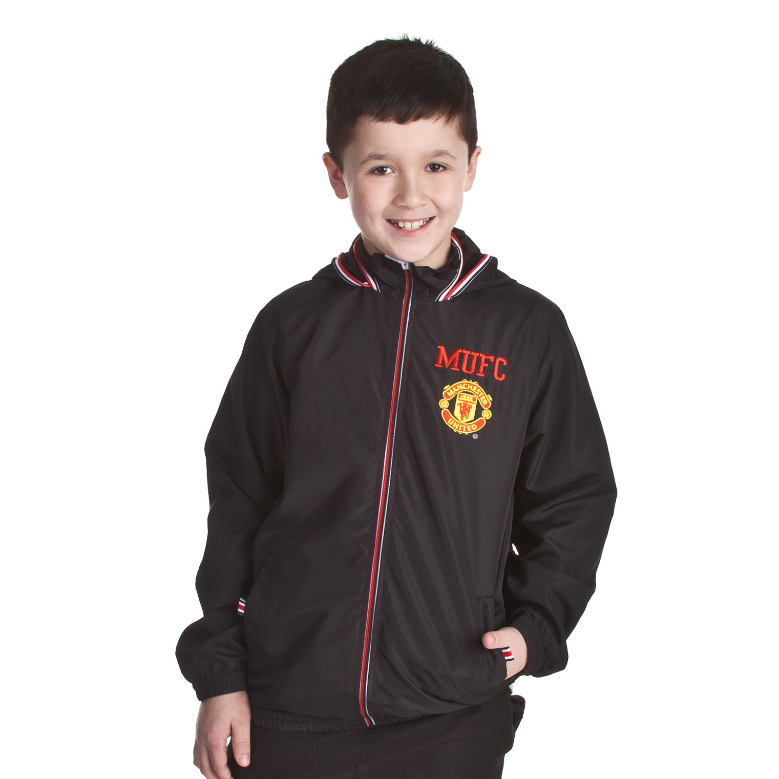 Manchester United Shower Jacket - Black - Older Boys