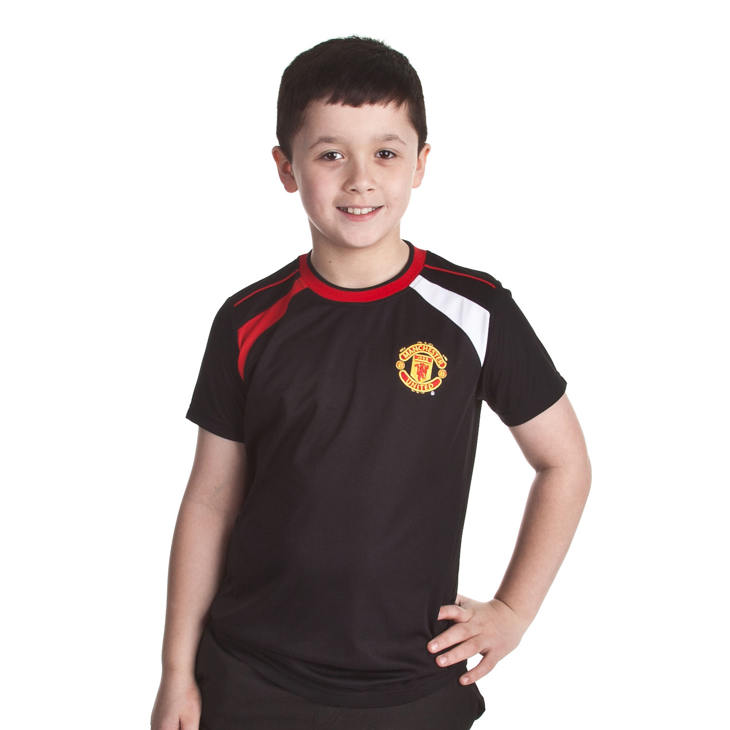 Manchester United Poly Panel T-Shirt - Black - Older Boys