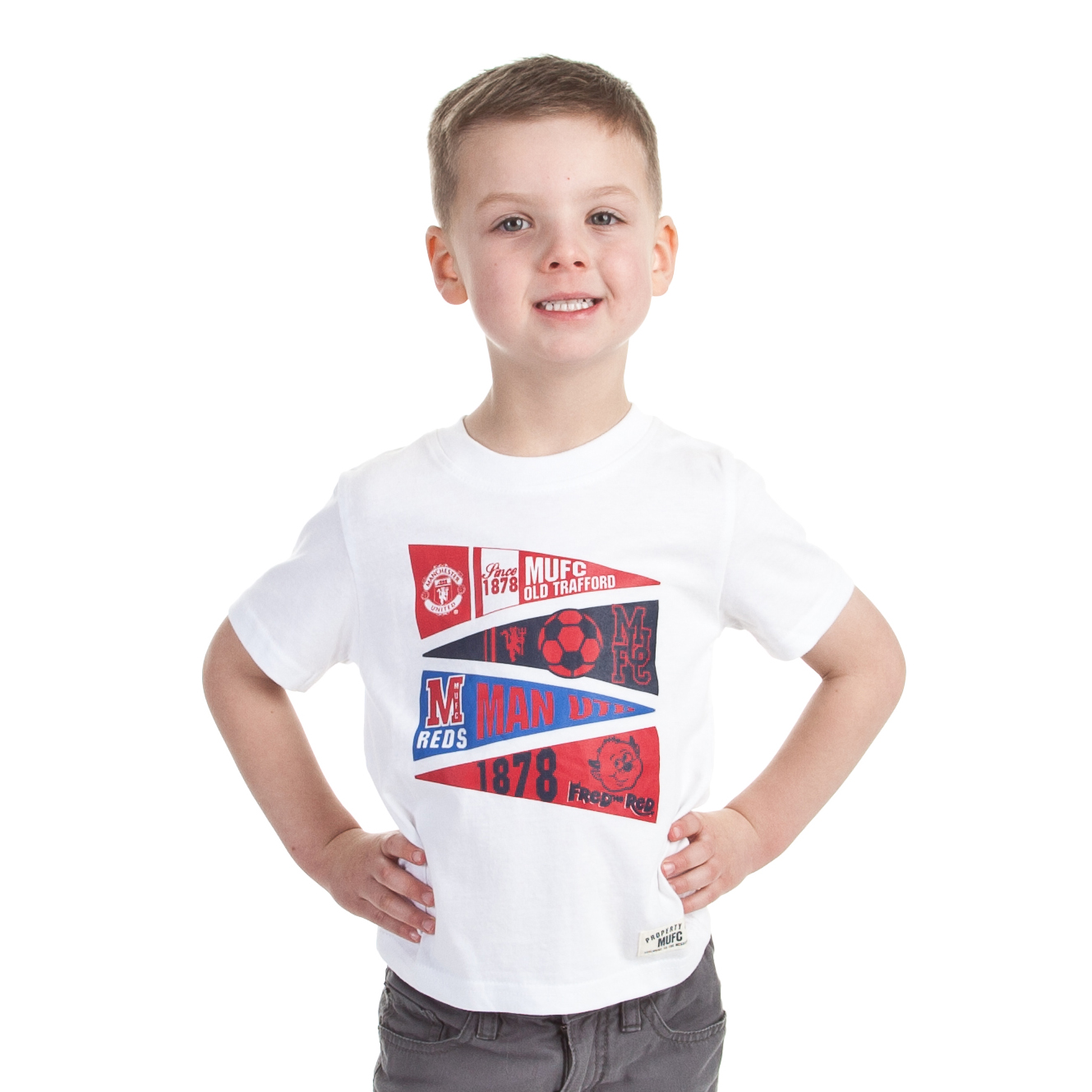Manchester United Flag Logo Graphic T-Shirt - White - Infant Boys