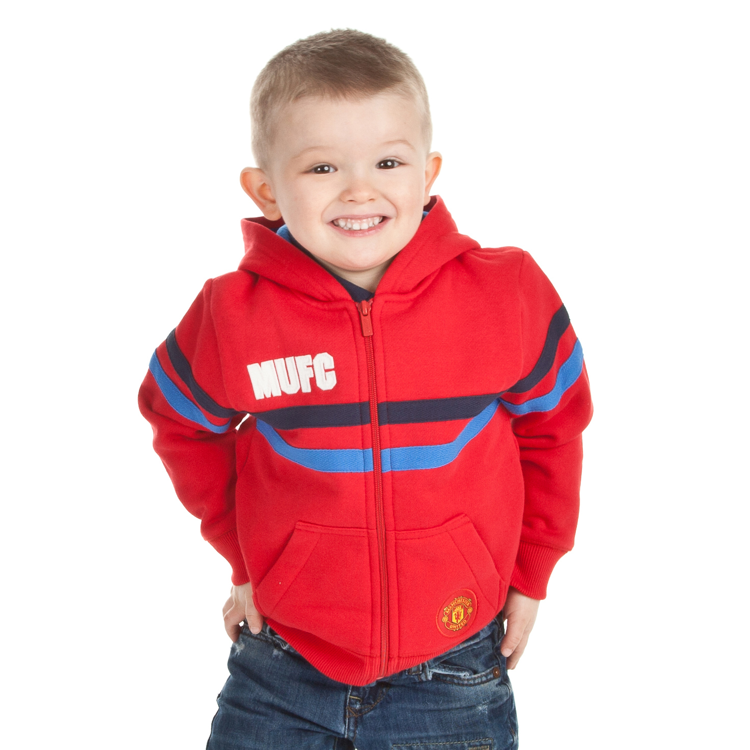 Manchester United 78 Zip Through Hoody - OT Red - Infant Boys