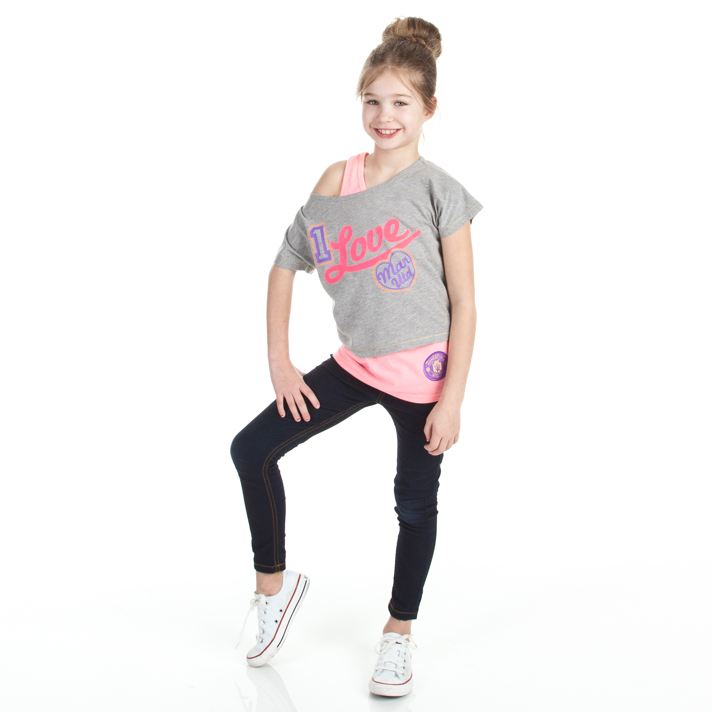 Manchester United Double Layer I Love T-Shirt - Grey Marl - Girls