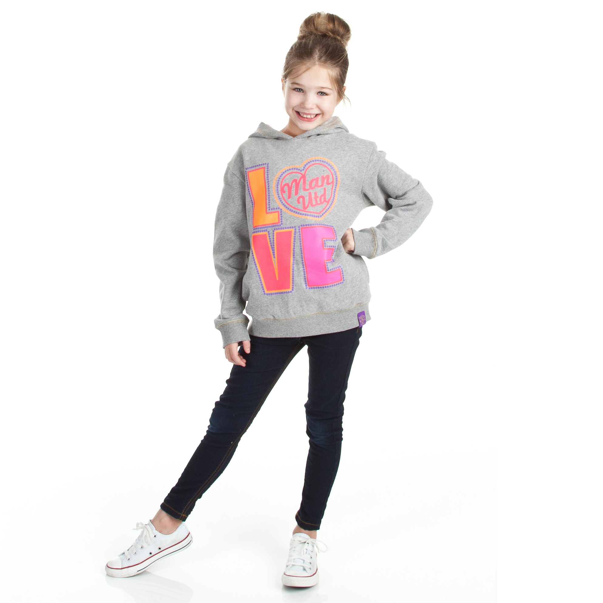 Manchester United Love Graphic Hoody - Grey Marl - Girls