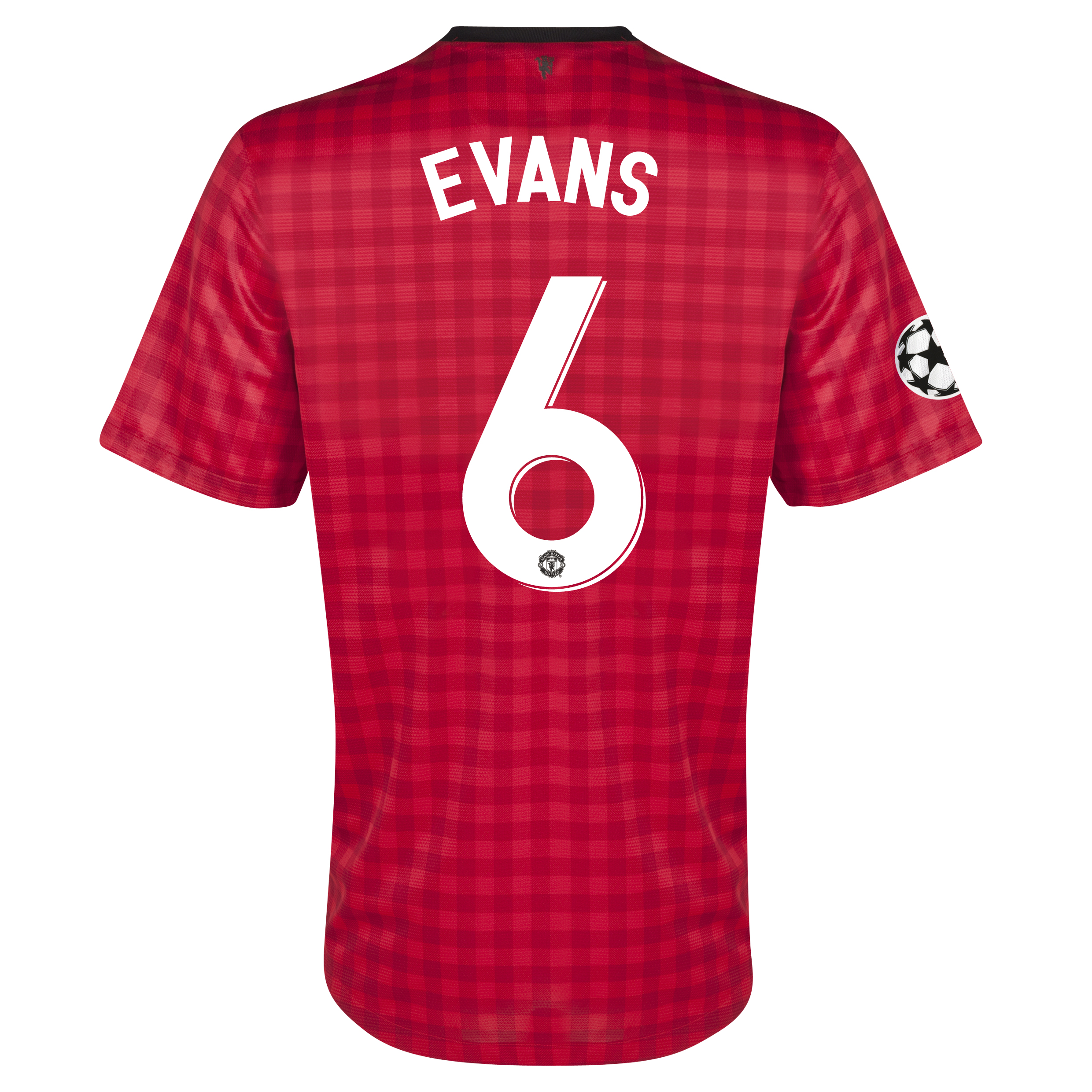 Manchester United UEFA Champions League Home Shirt 2012/13 with Evans 6 printing