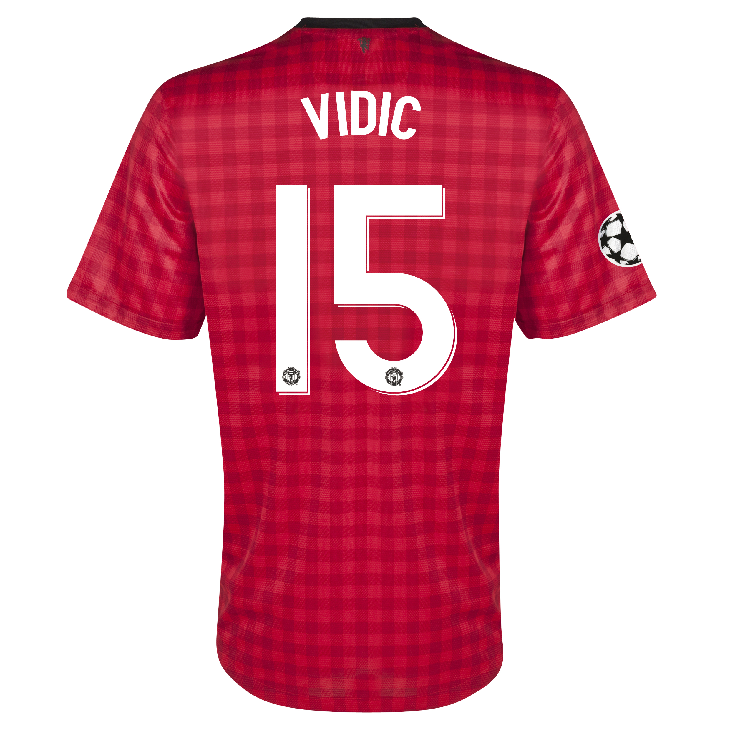 Manchester United UEFA Champions League Home Shirt 2012/13 with Vidic 15 printing