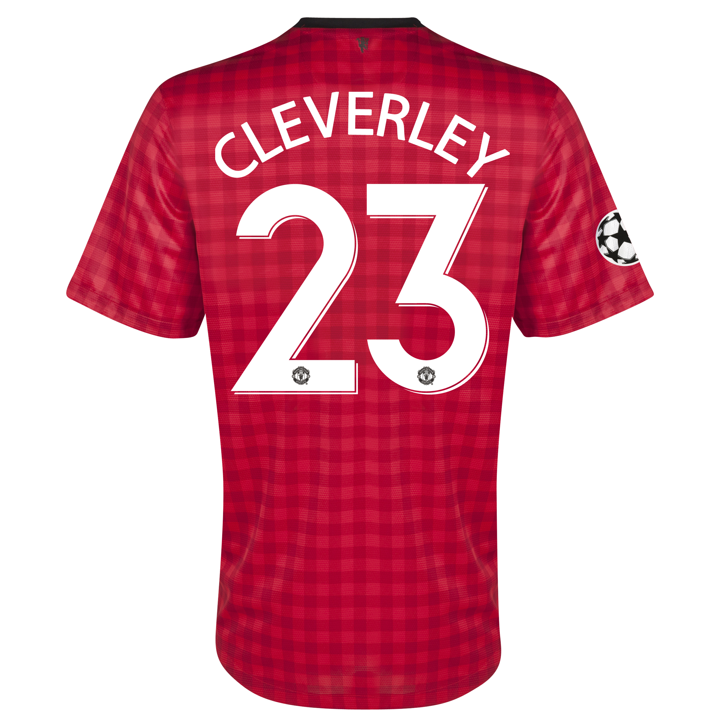 Manchester United UEFA Champions League Home Shirt 2012/13 with Cleverley 23 printing