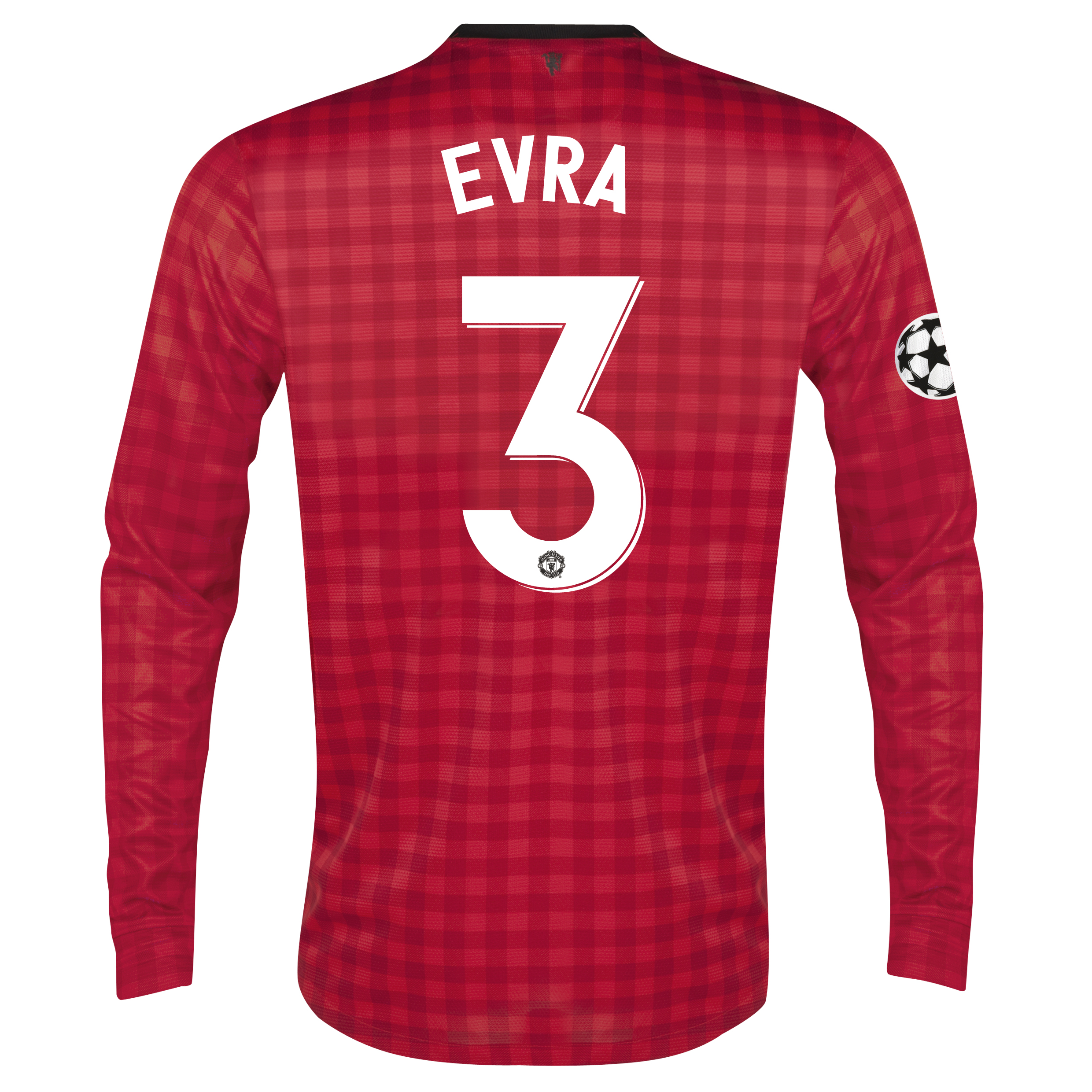 Man United UEFA Champions League Home Shirt 2012/13 - Long Sleeved with Evra 3 printing