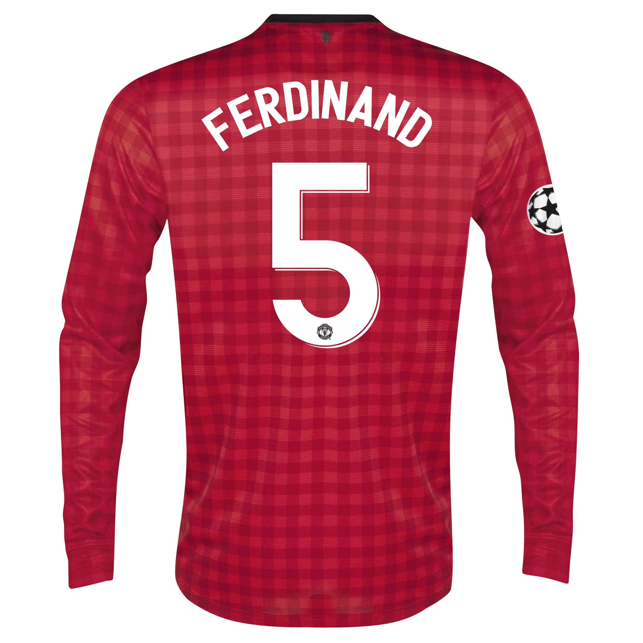 Man United UEFA Champions League Home Shirt 2012/13 - Long Sleeved with Ferdinand 5 printing