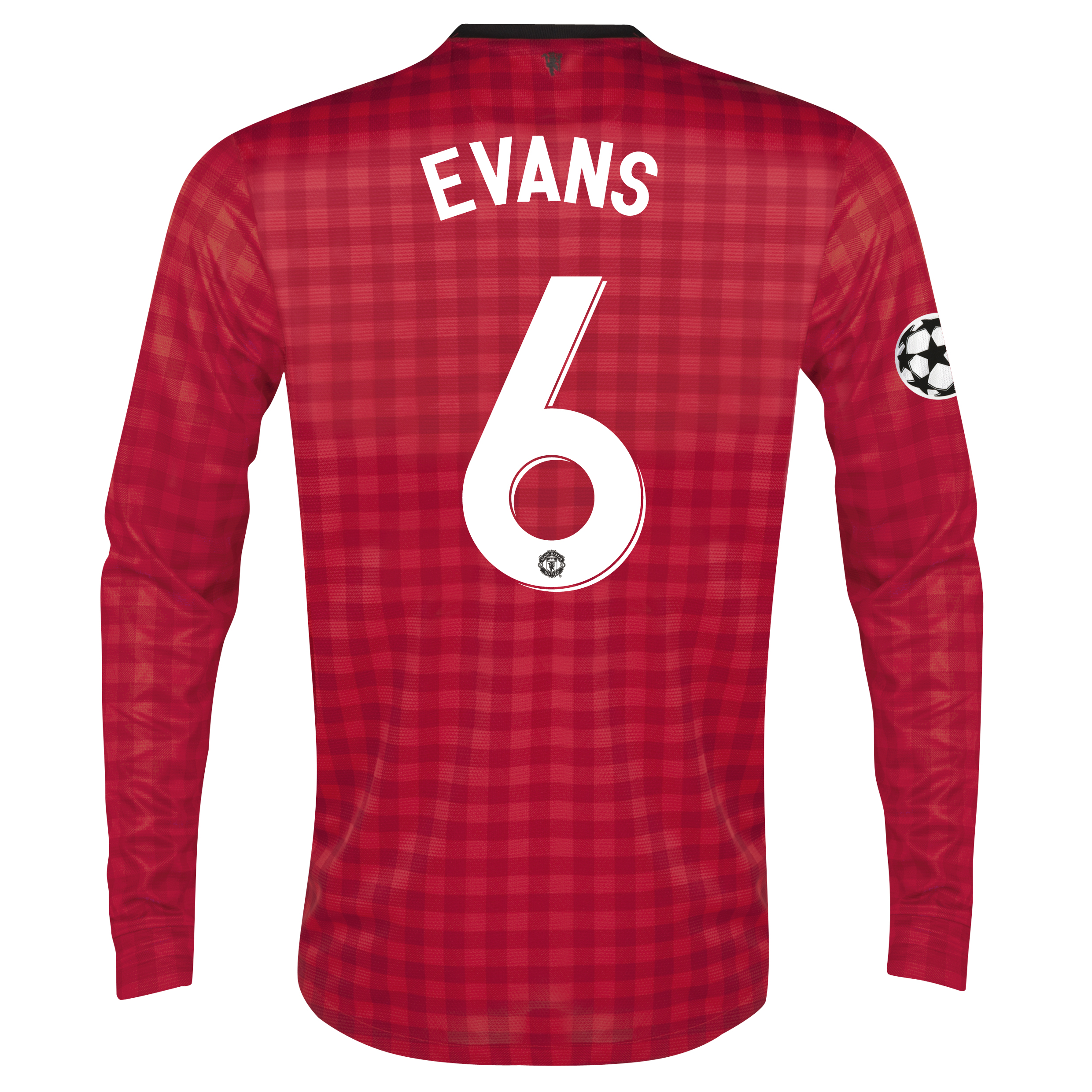 Man United UEFA Champions League Home Shirt 2012/13 - Long Sleeved with Evans 6 printing