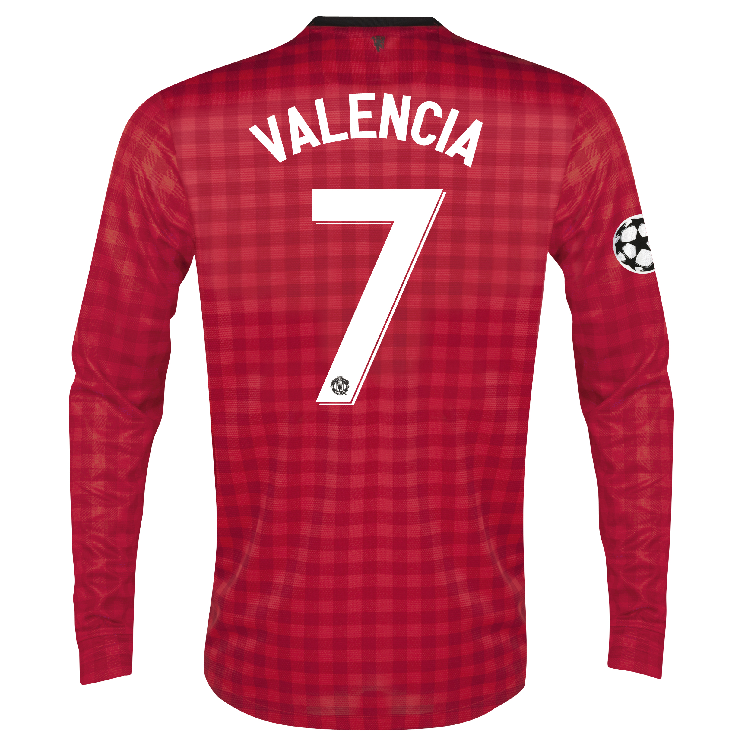 Man United UEFA Champions League Home Shirt 2012/13 - Long Sleeved with Valencia 7 printing