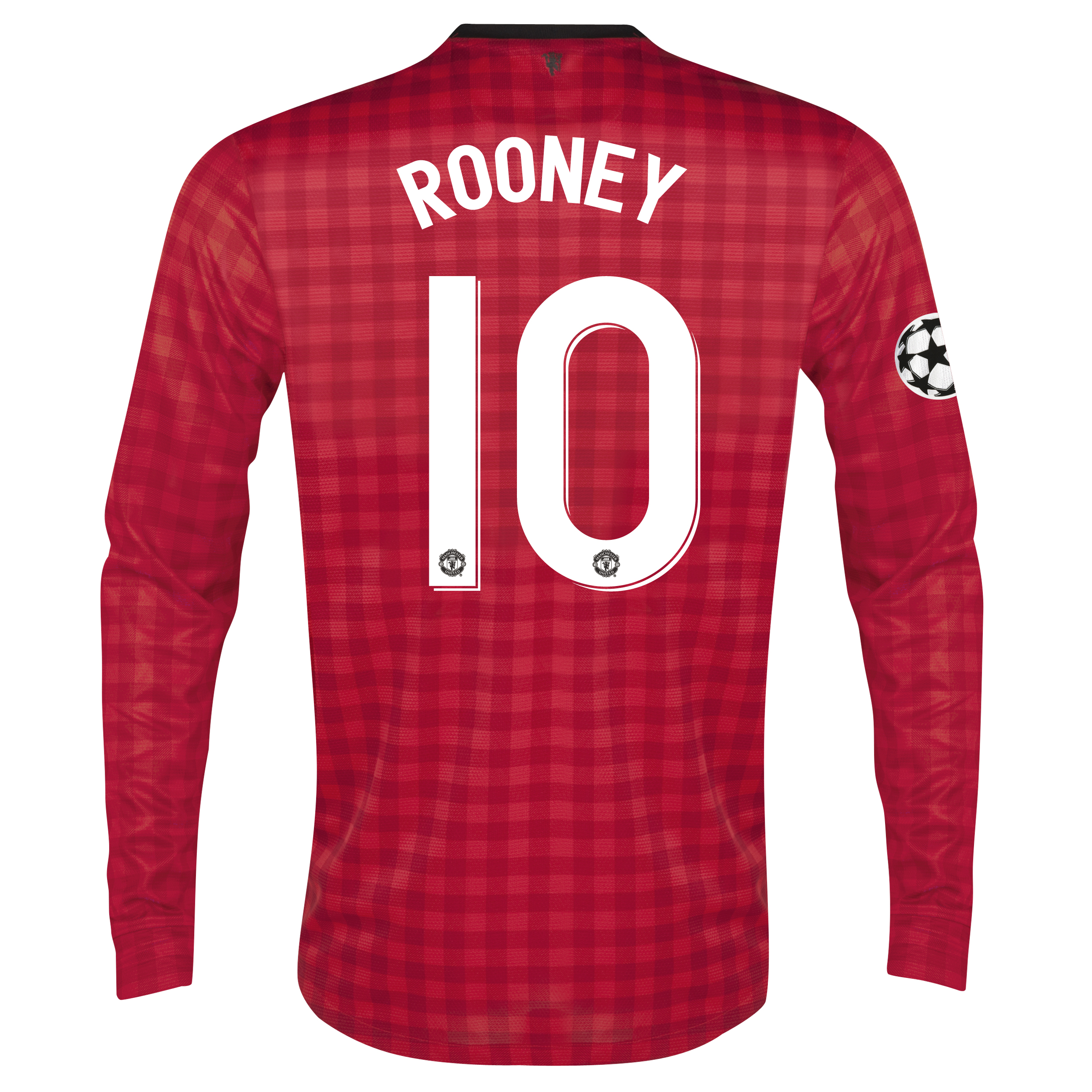 Man United UEFA Champions League Home Shirt 2012/13 - Long Sleeved with Rooney 10 printing