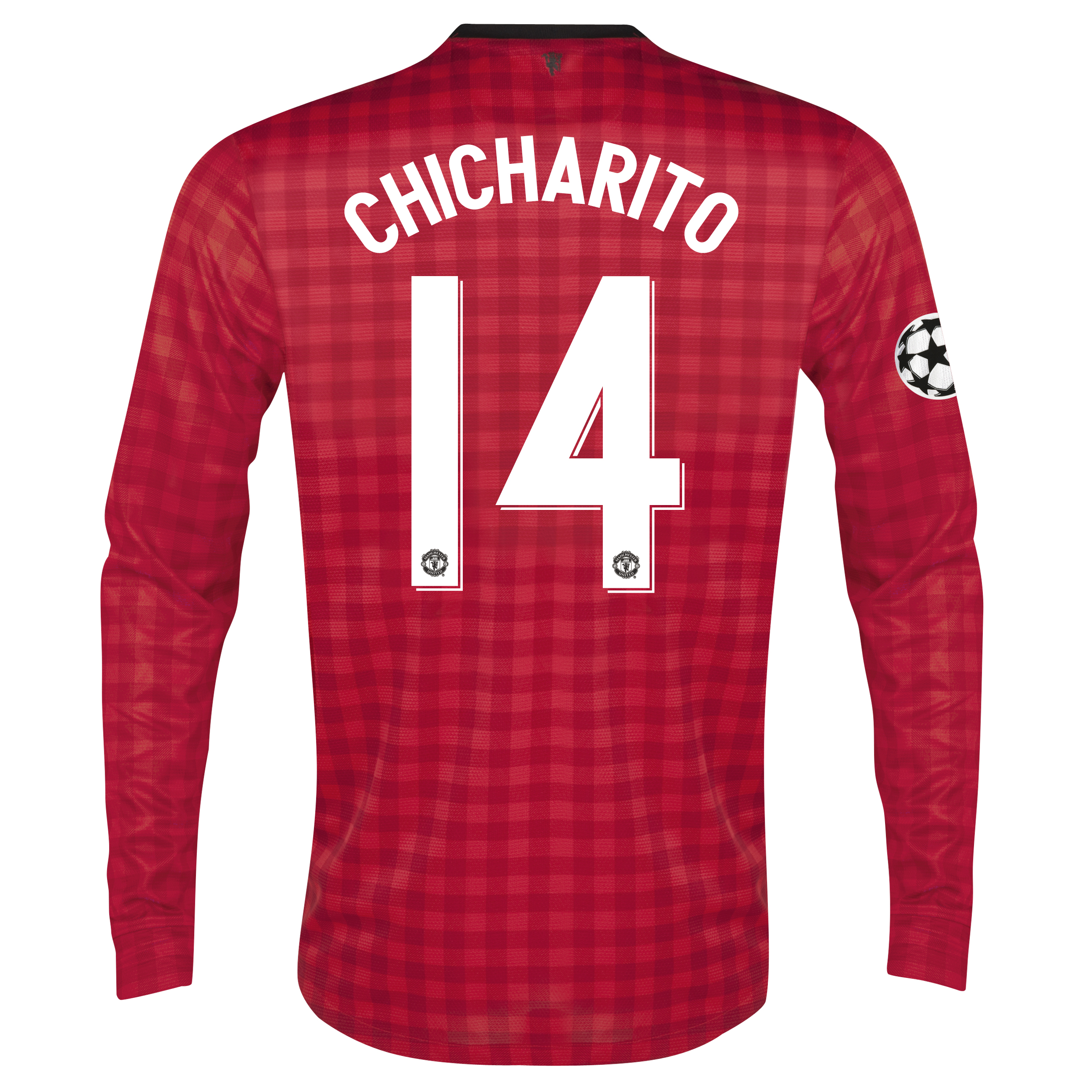 Man United UEFA Champions League Home Shirt 2012/13 - Long Sleeved with Chicharito 14 printing