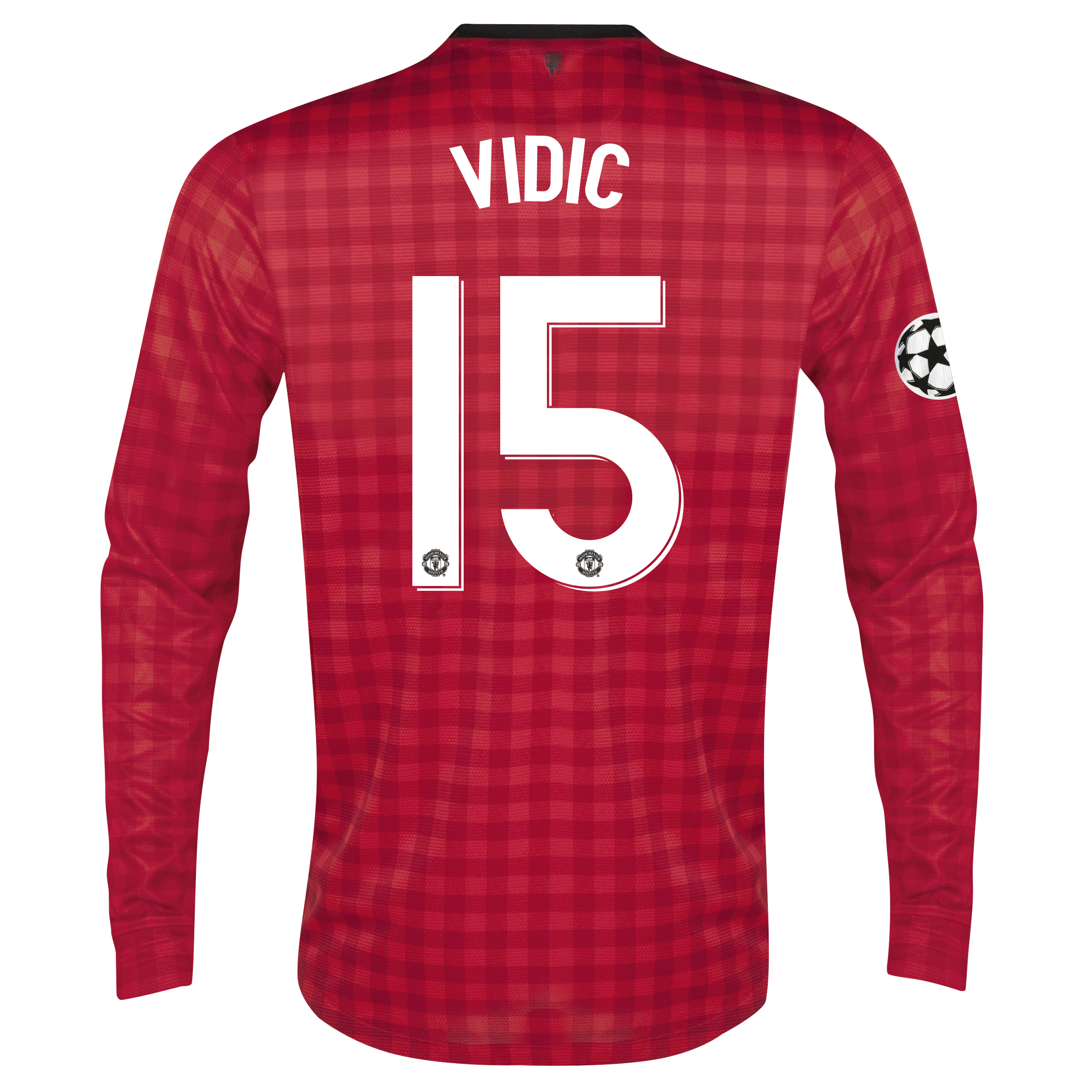 Man United UEFA Champions League Home Shirt 2012/13 - Long Sleeved with Vidic 15 printing