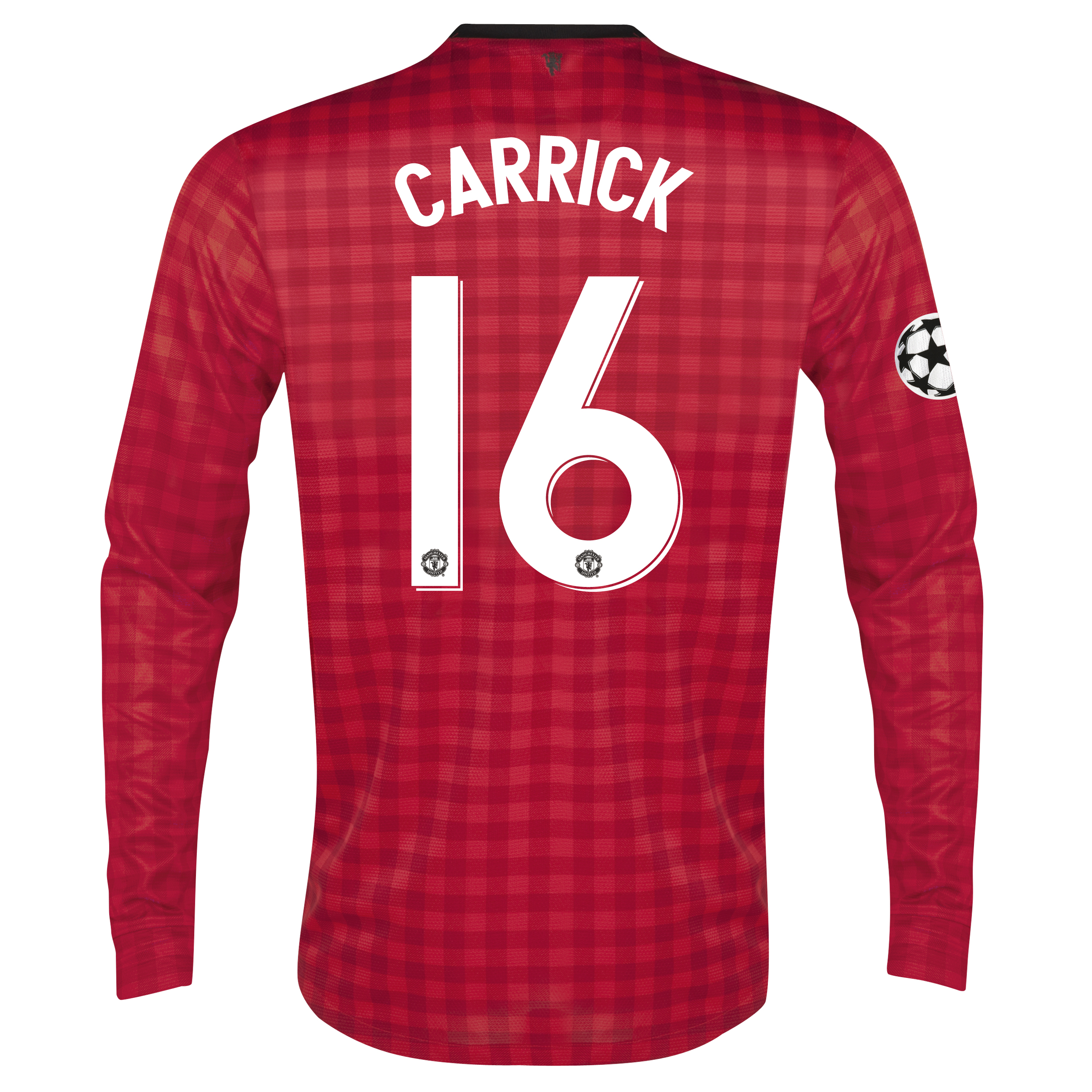 Man United UEFA Champions League Home Shirt 2012/13 - Long Sleeved with Carrick 16 printing