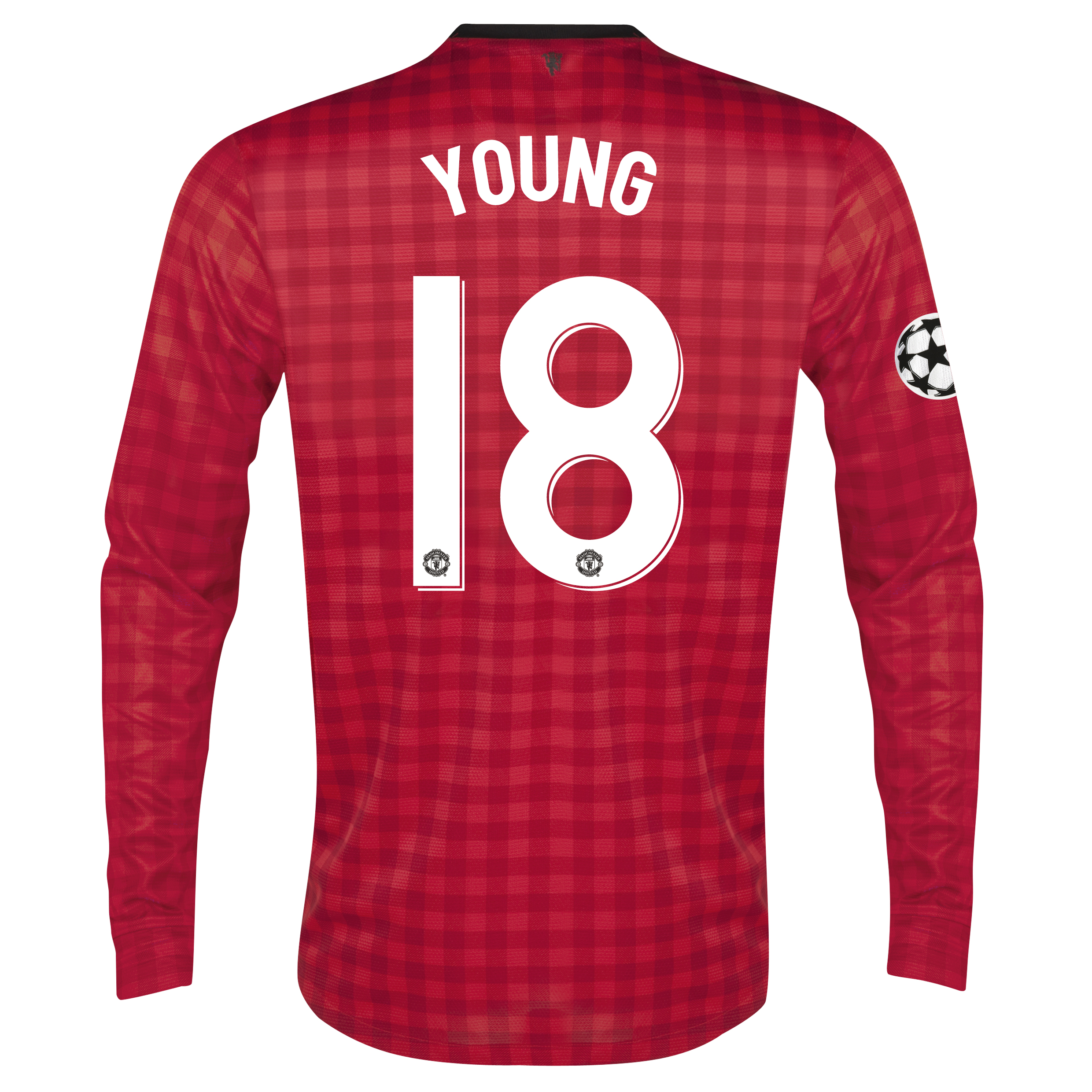 Man United UEFA Champions League Home Shirt 2012/13 - Long Sleeved with Young 18 printing