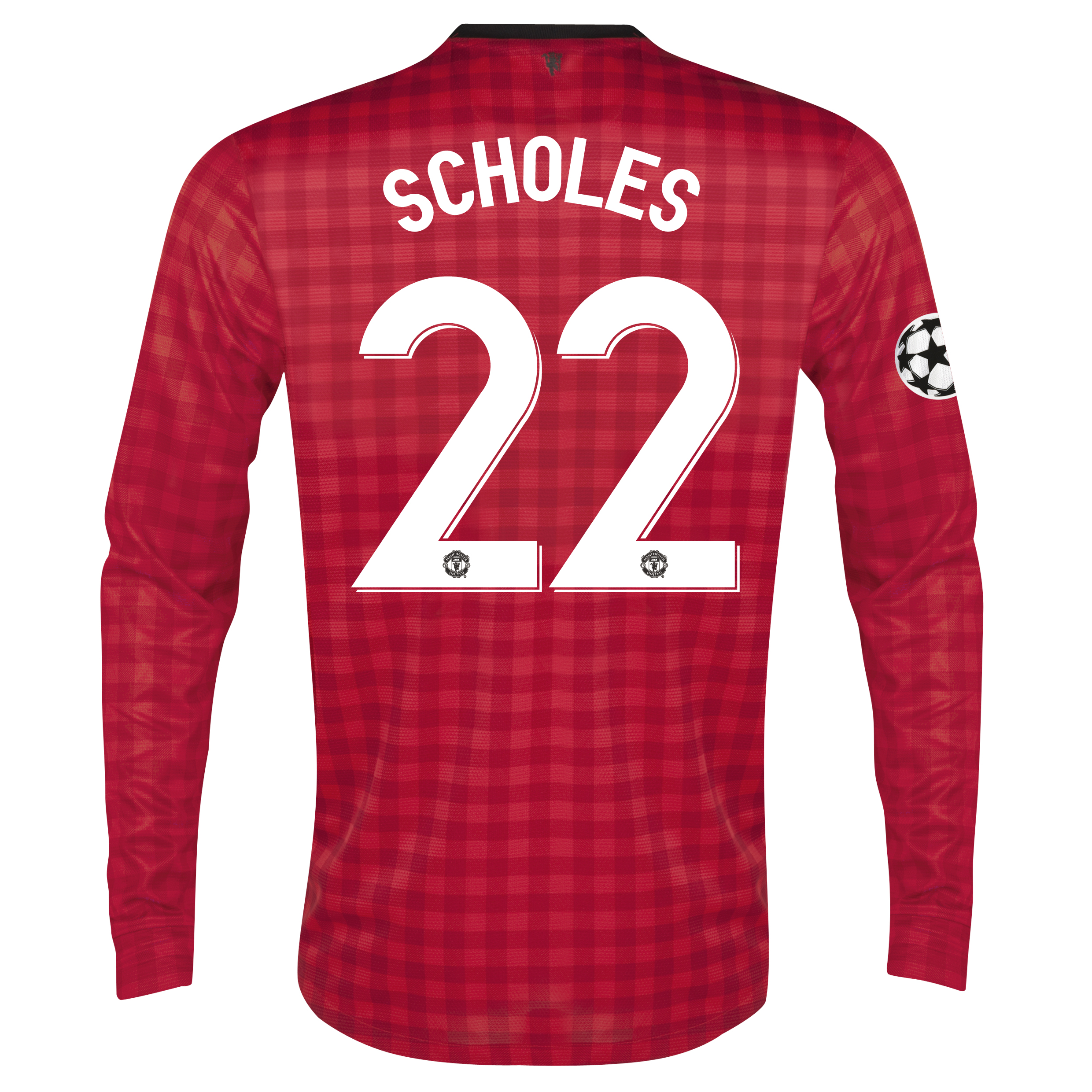 Man United UEFA Champions League Home Shirt 2012/13 - Long Sleeved with Scholes 22 printing